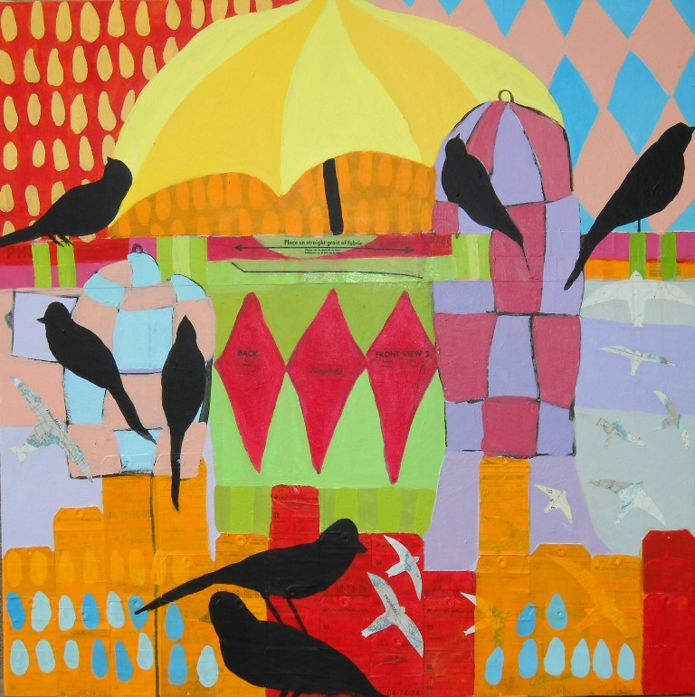 Aviary TWA , 36 x 36, Acrylic and collage on canvas