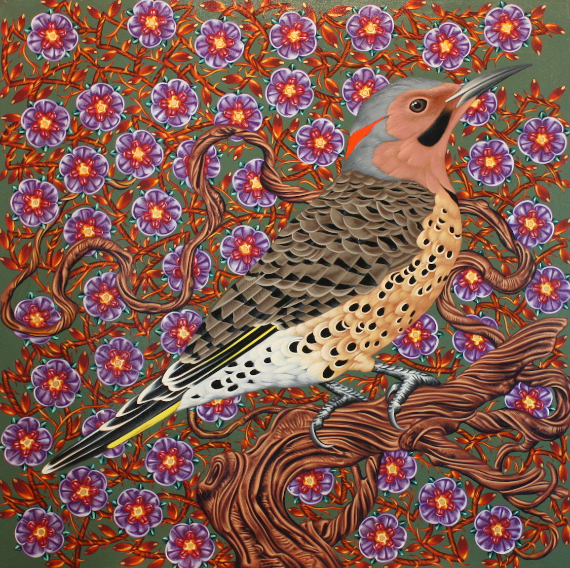 Exult 22 Northern Flicker  30 x 30 Acrylic on panel