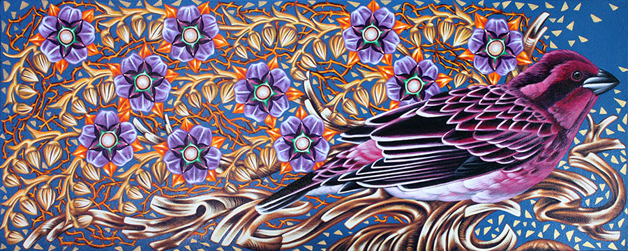 Exult 23 Purple Finch , 12 x 30, Acrylic on wood panel