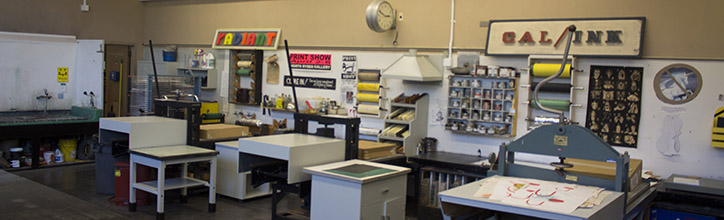 View of half the Printing studio with gravure and litho presses