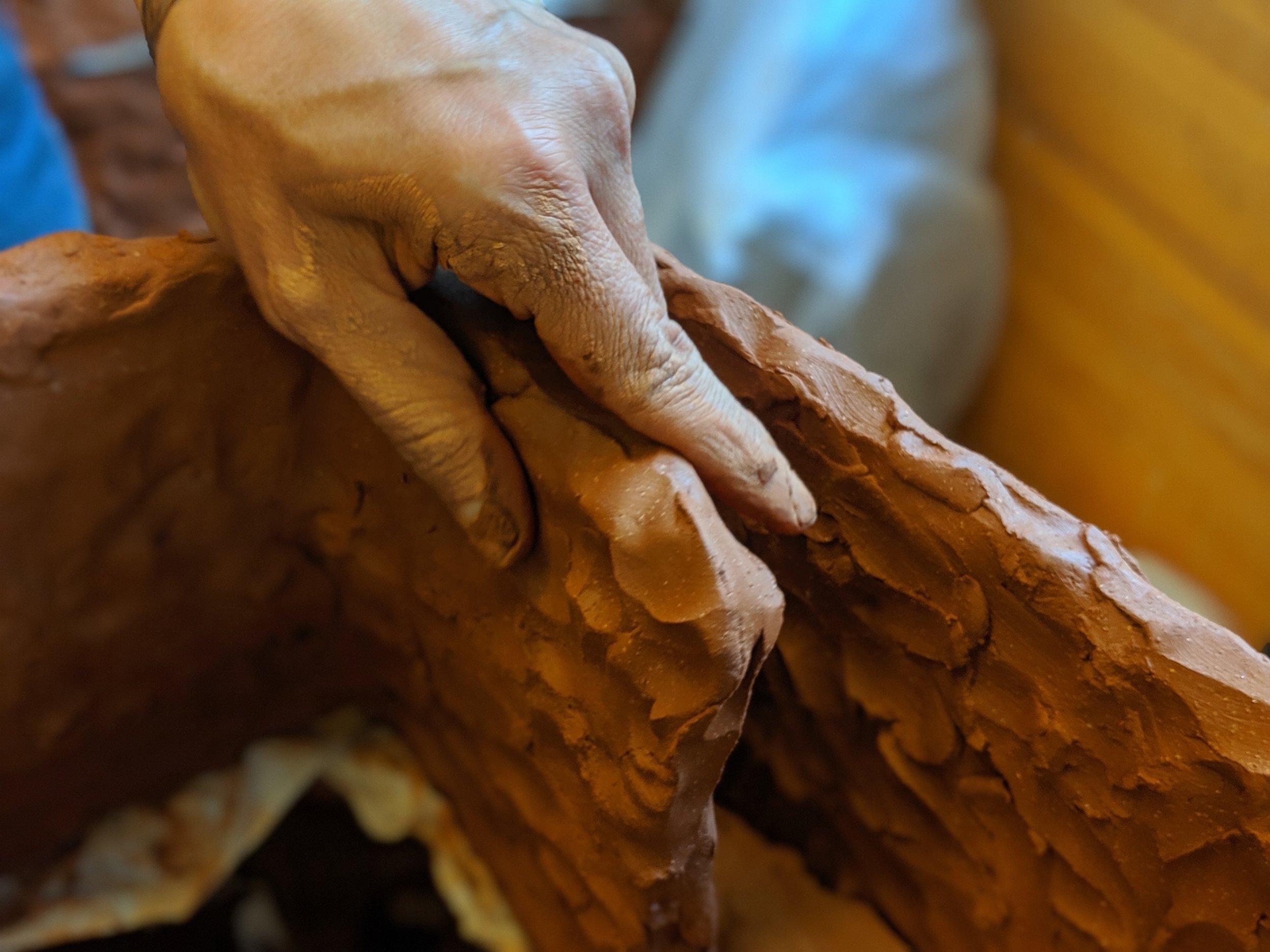 Sahar Khoury at work, Art Practice Ceramics Lab, 2019