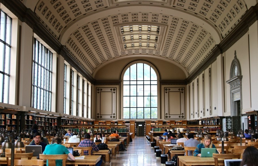 Students studying in Doe Library.