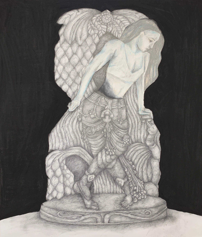 "Apsara Ram,  Shedding Stone , 2019. Charcoal and chalk pastel on white paper, 36"" x 42""."