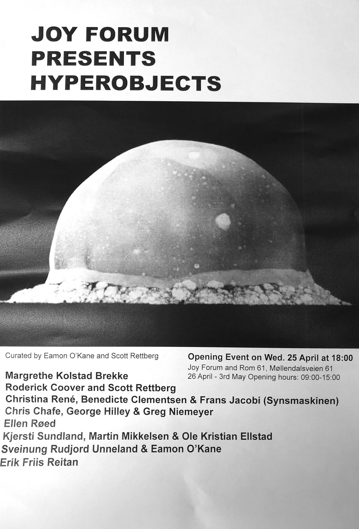 Flier for 2018  Hyperobejcts  Exhibition