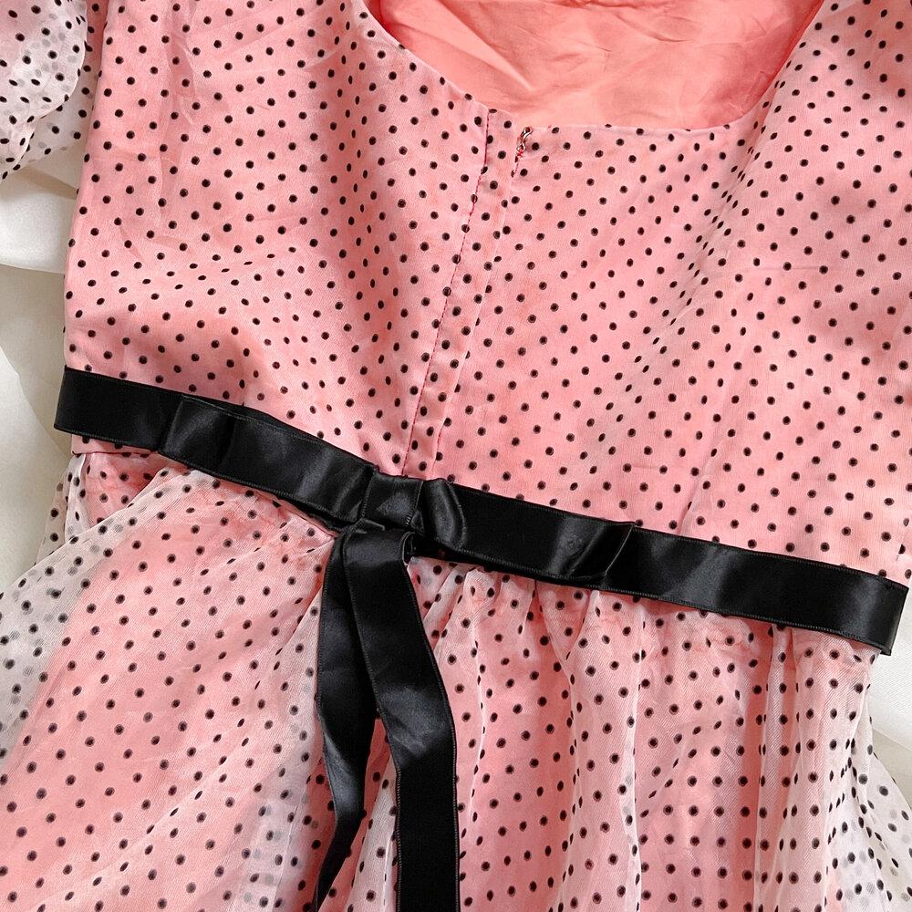 VINTAGE 1980/'s Black and white polka dot ruffle dress