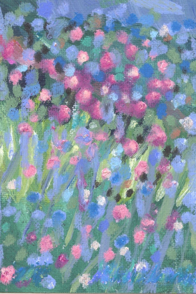 Pink Flowers  Oil & oil pastel on paper 9 x 6.5cm 2014