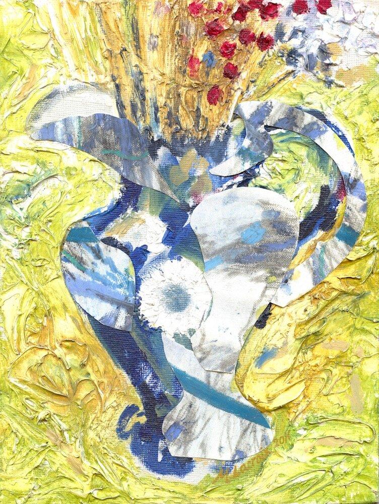 Jug  Oil, gesso, card & oil pastel on canvas 26 x 20 cm 2011