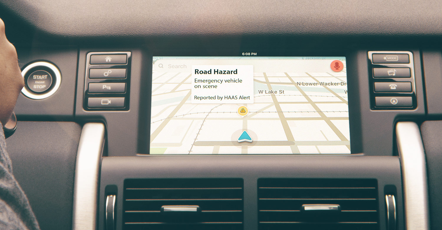Drivers get alerted inside their cars and on smartphones - Real-time digital alerts are sent to motorists and connected cars via in-vehicle systems, navigation and smartphone apps when emergency vehicles are approaching and on-scene.