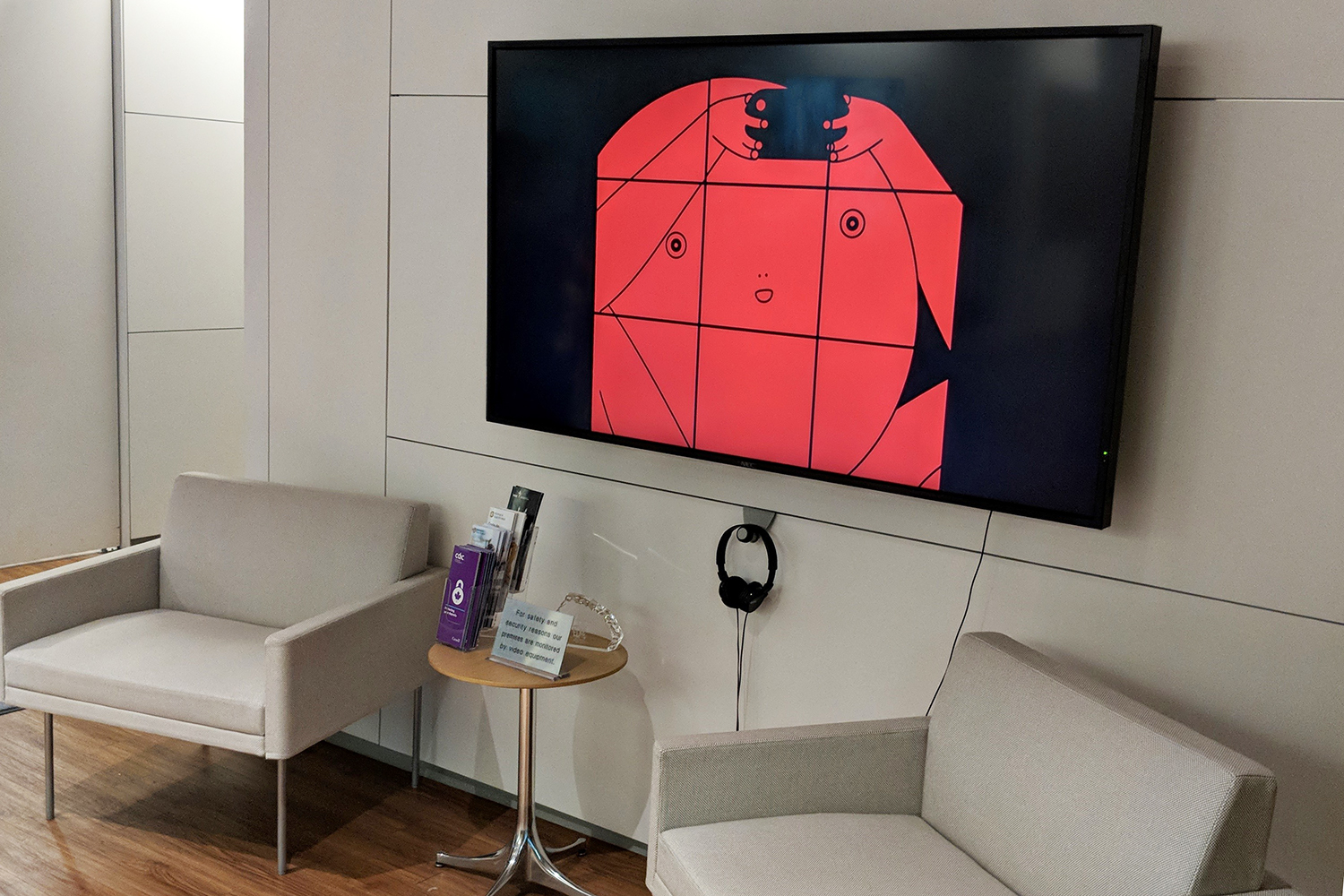 Fanny Huard, AEIUO, 2017, Animation (still), playing on-screen in reception at Equitable's head office, Toronto
