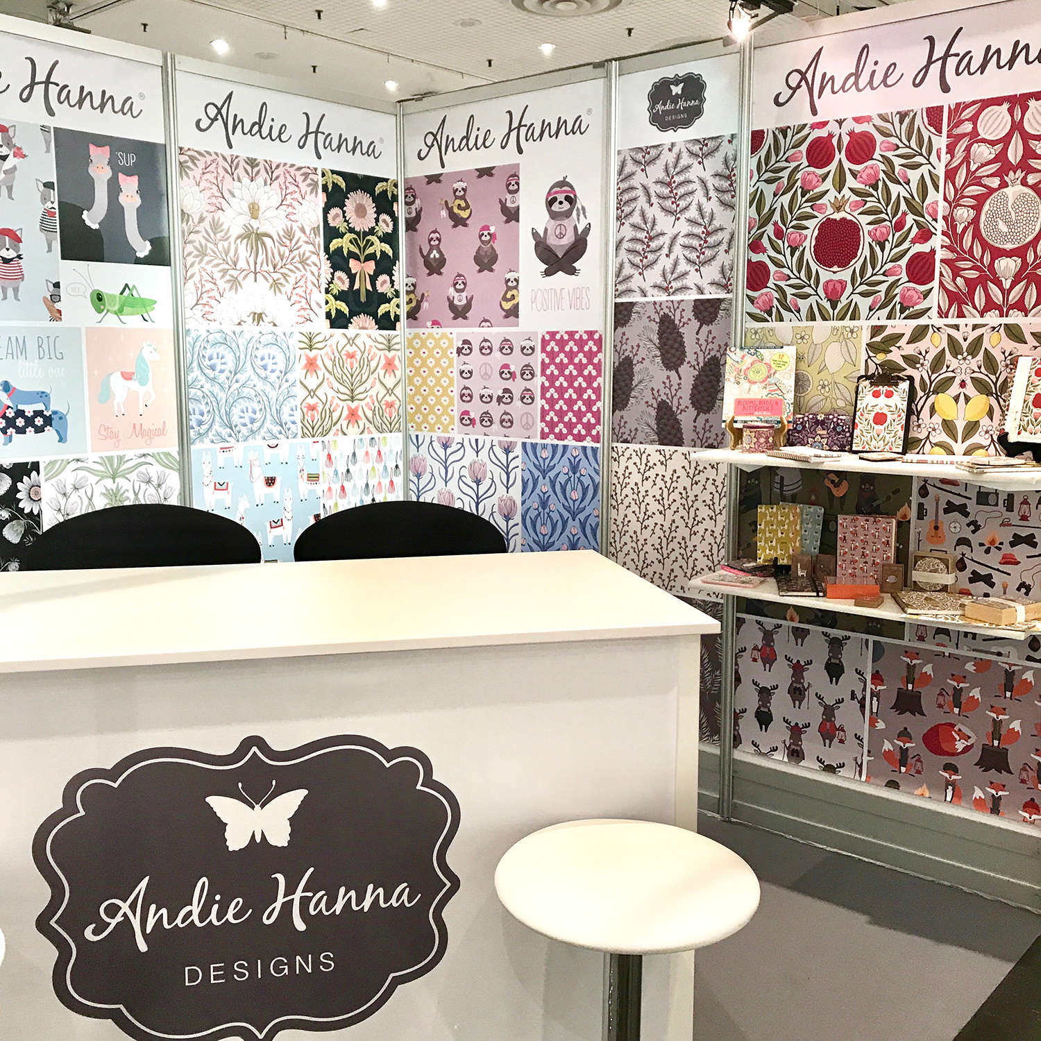 Andie's Surtex Booth, 2018. Image courtesy of the artist.
