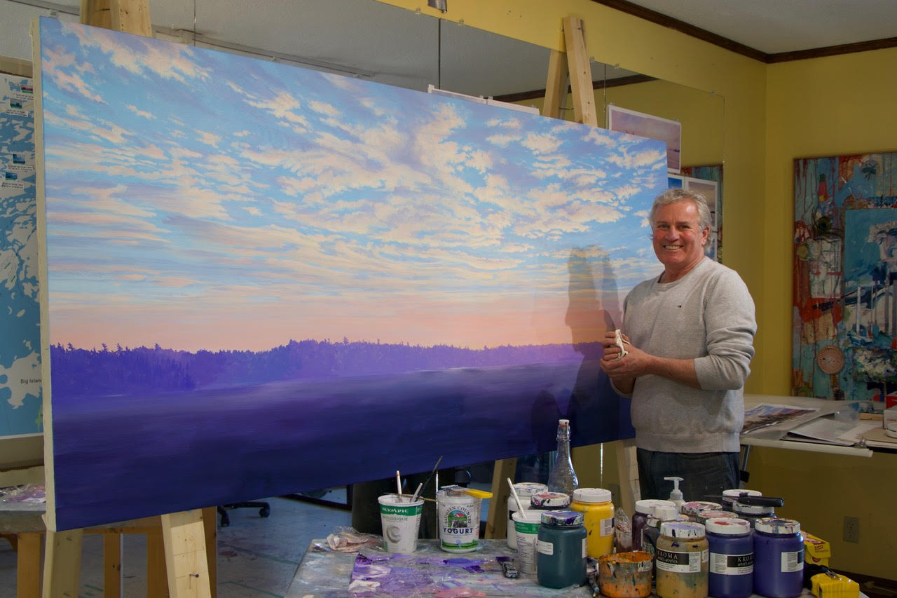 Randolph Parker with a painting in progress. Images via the artist.