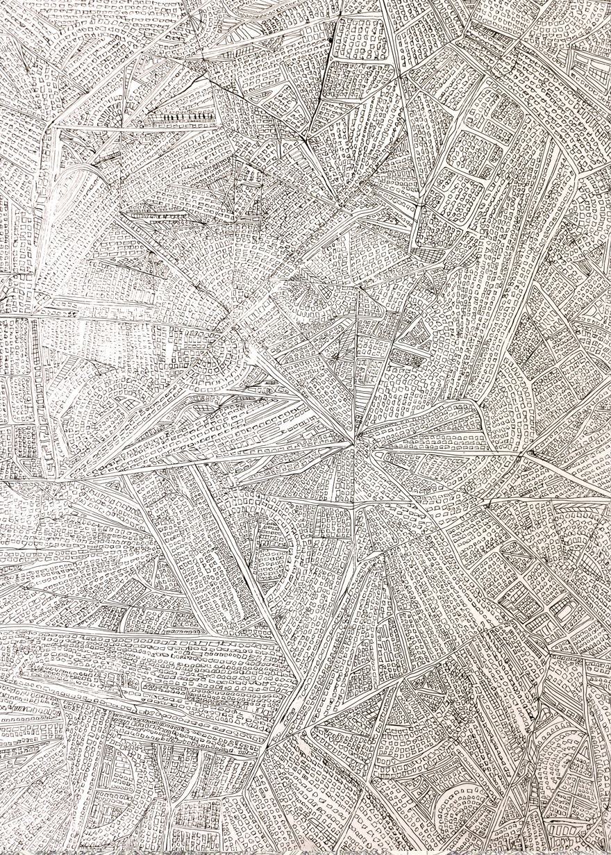Navigation-1, hard-ground etching on zinc, printed on hahnemuhle, 22 x 29.5 inches, 2013