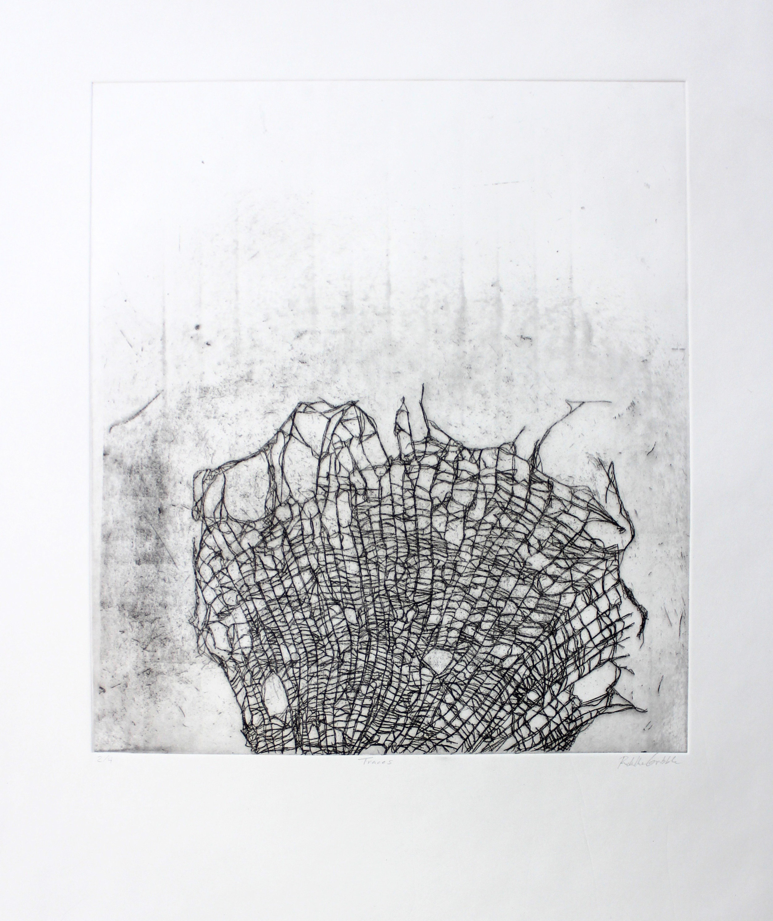 Traces, Hard-ground etching on copper on mitsumama washi, 22.5 x 19 inches, 2018