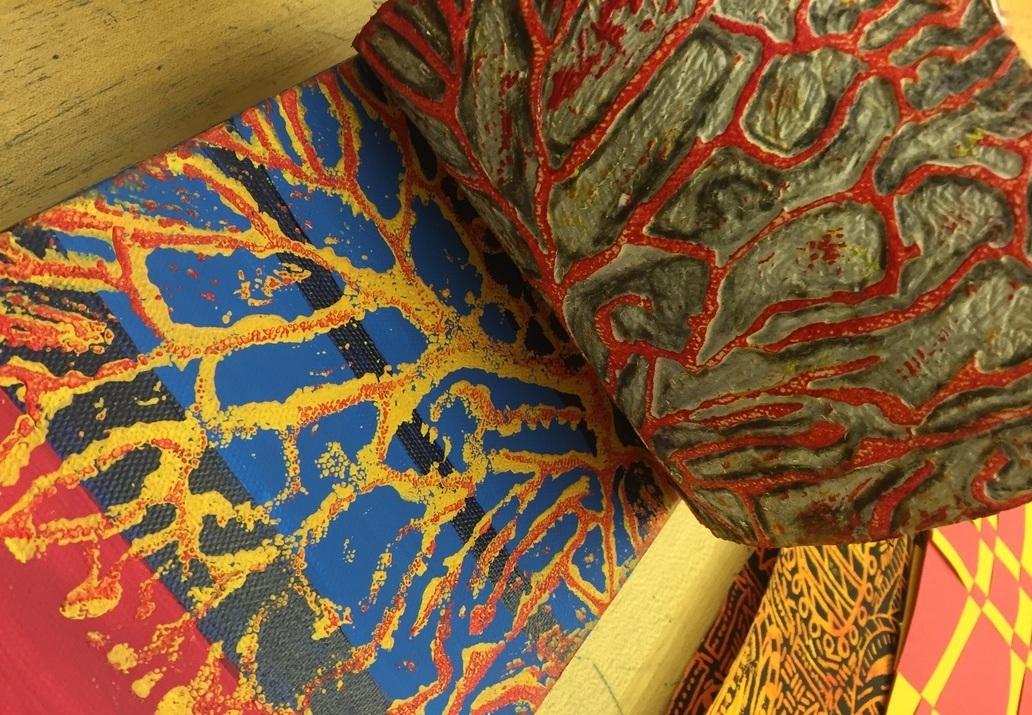 Danna printed microscopic image of dendrites onto canvas.PC: Danna Simmons