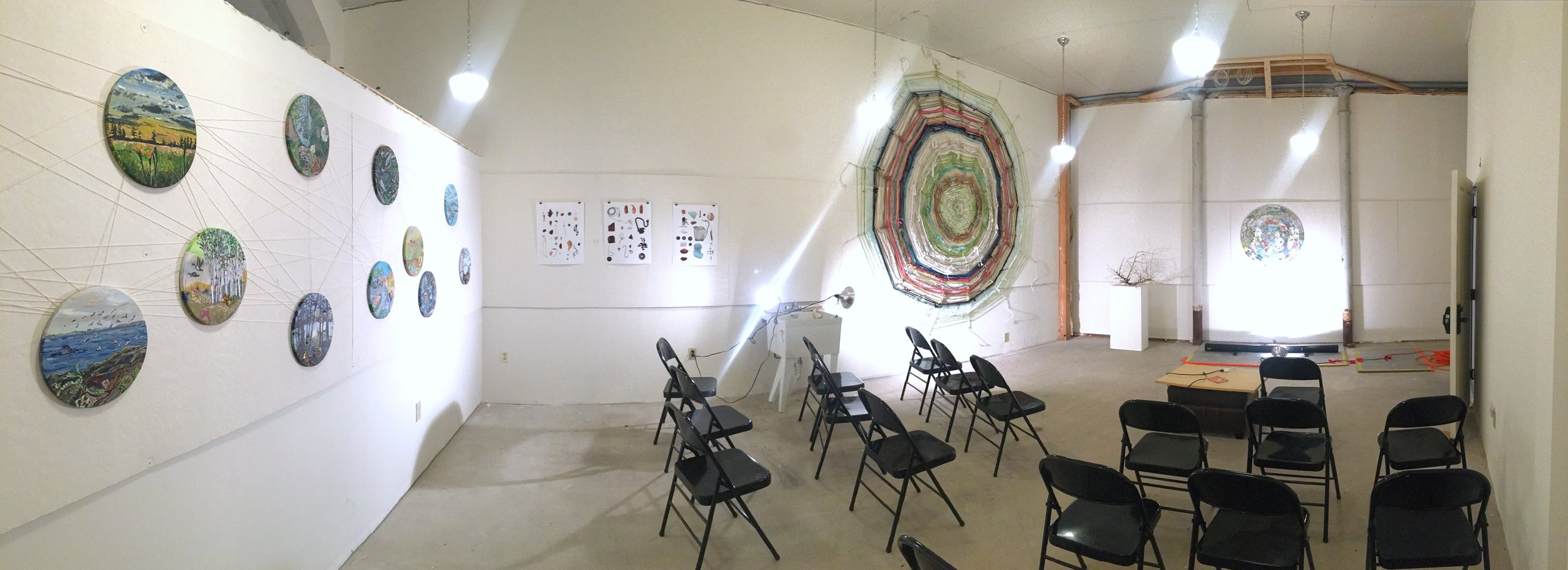 Artworks on display for open studios and artist talk. PC: RIchelle Gribble