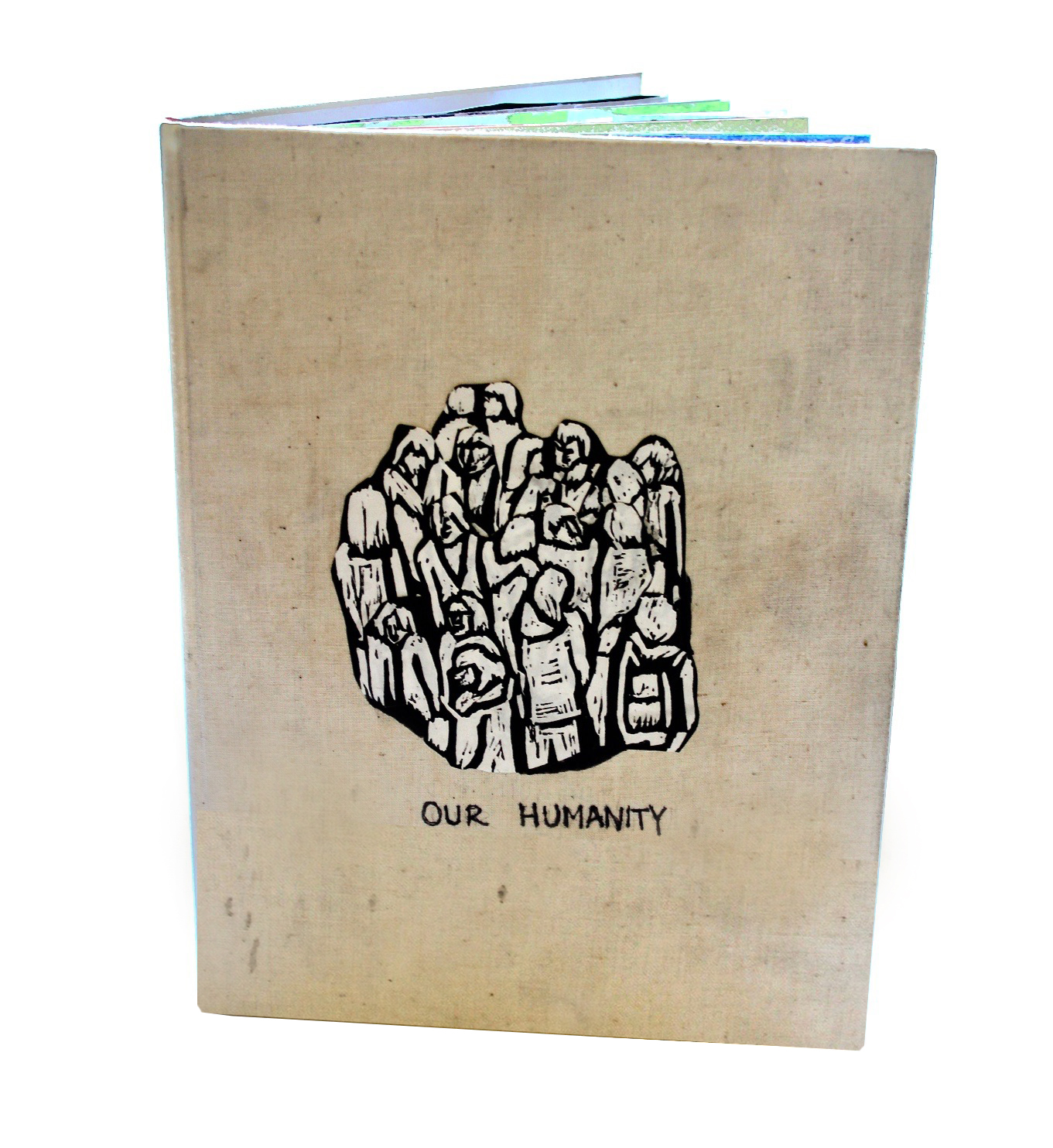 Our Humanity, ink, charcoal, encaustic, collage, graphite, on handmade book, 2015