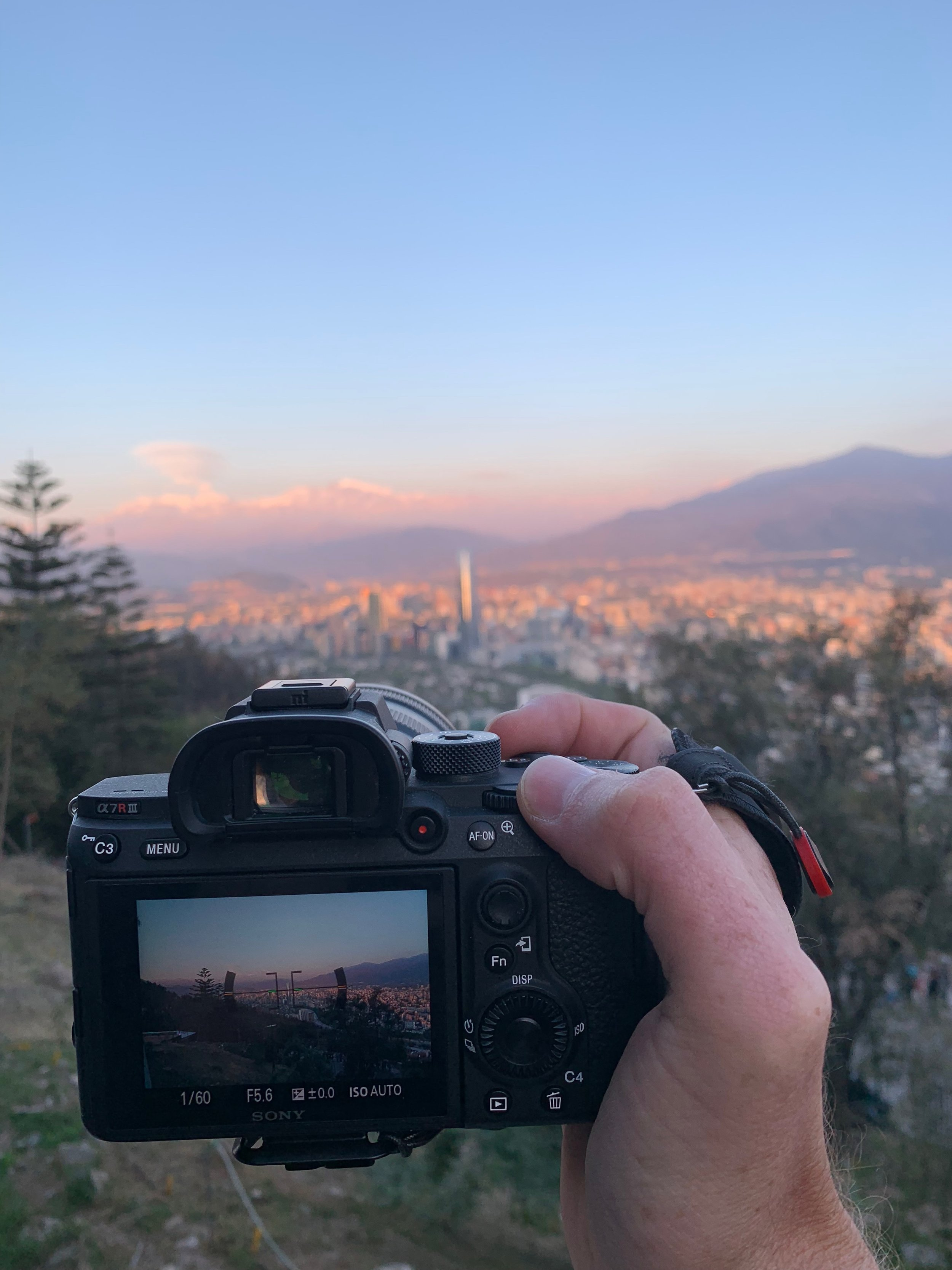Holding Sony a7riii in Santiago, Chile