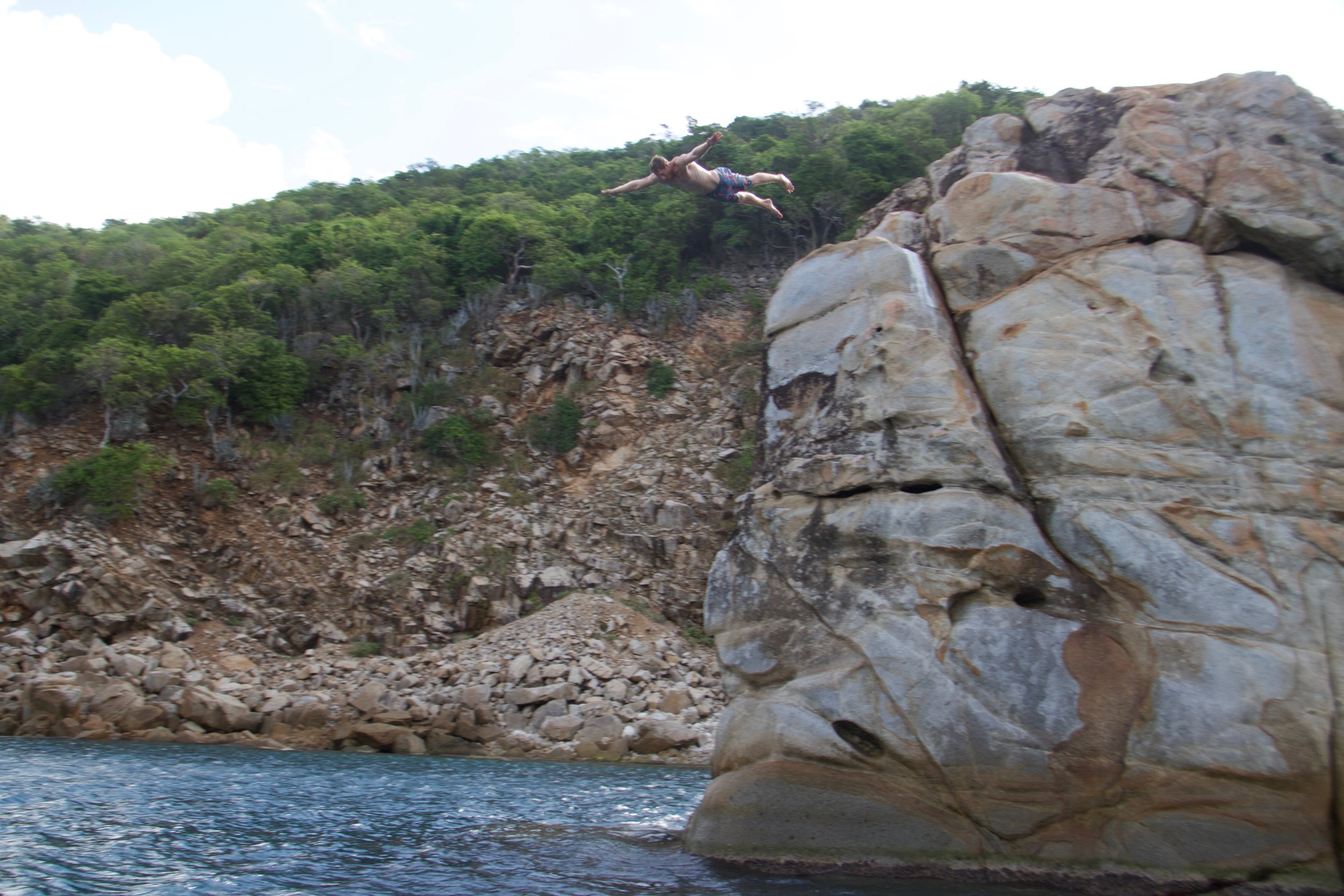 The end of the trip and finally found a rock to jump off of!