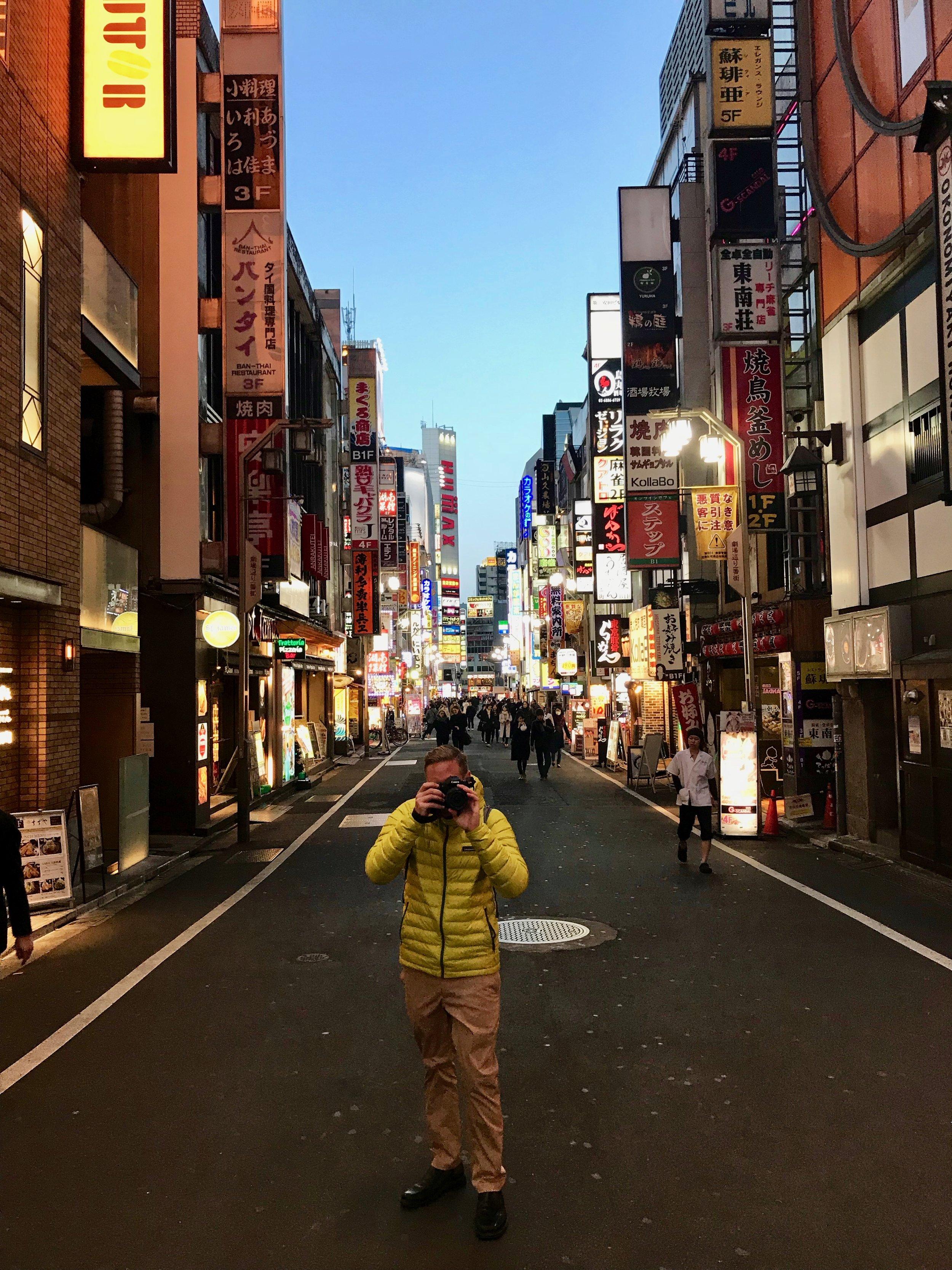 Me taking pictures in Shinjuku, Tokyo
