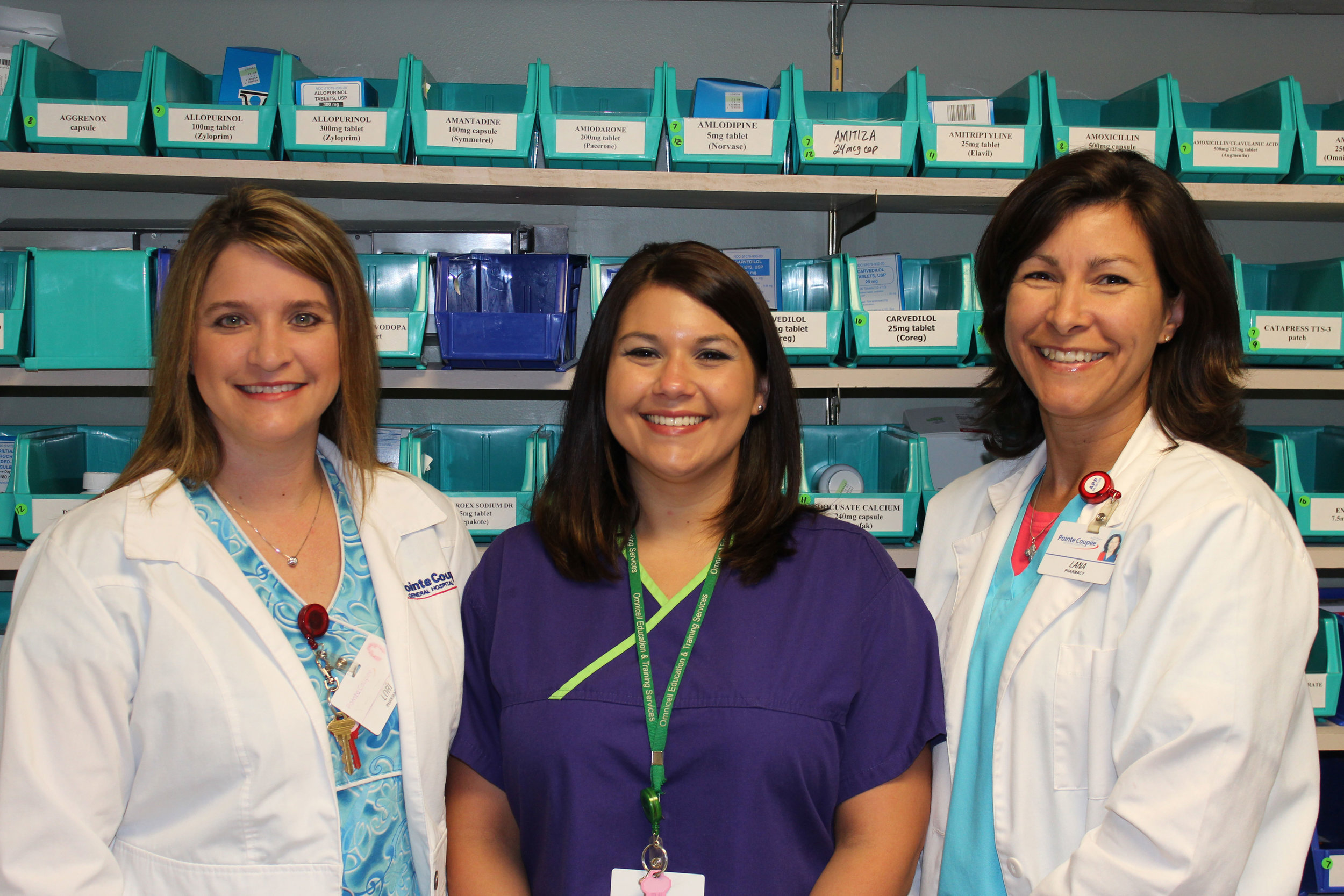 Pharmacy staff pictured left to right: Lori LaCombe, R. Ph., Brittany Fabre, CPhT, and Lana Prejean, R. Ph.
