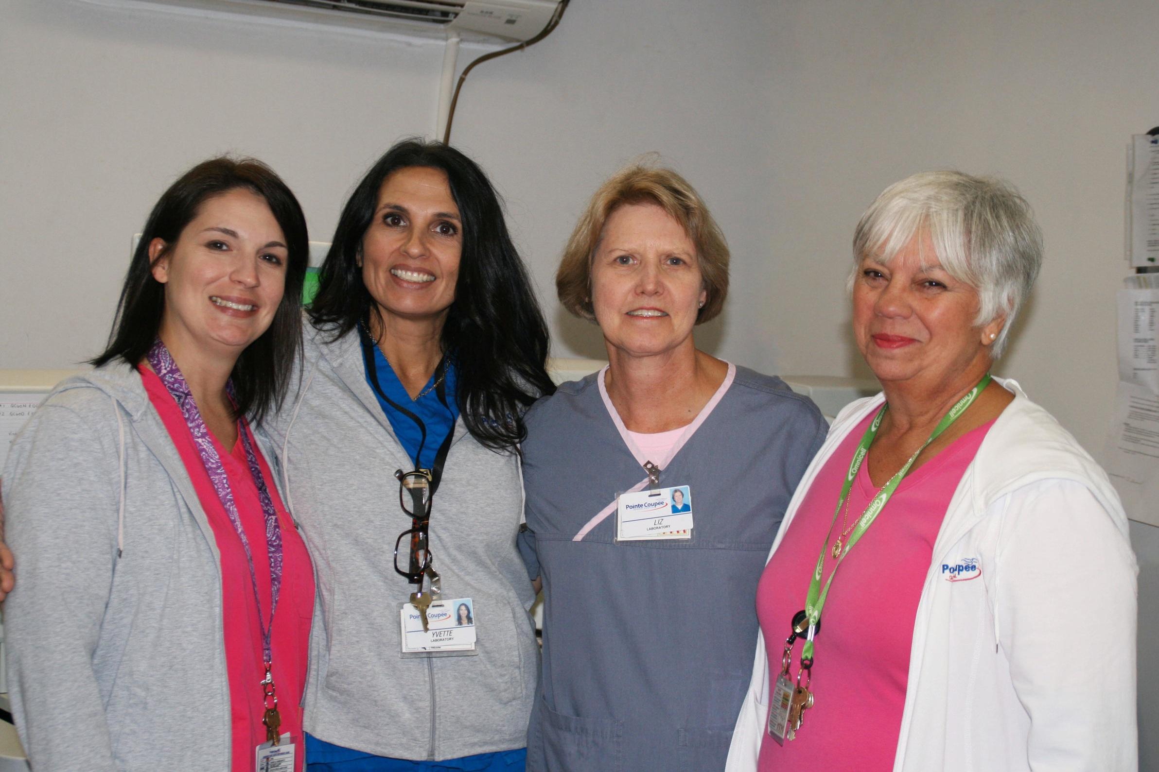 Nicole Pourciau, MT, Yvette Garrett, MT, Assistant Manager, Elizabeth Gosserand, MT, Lab Manager, Mimi Guidroz, MT