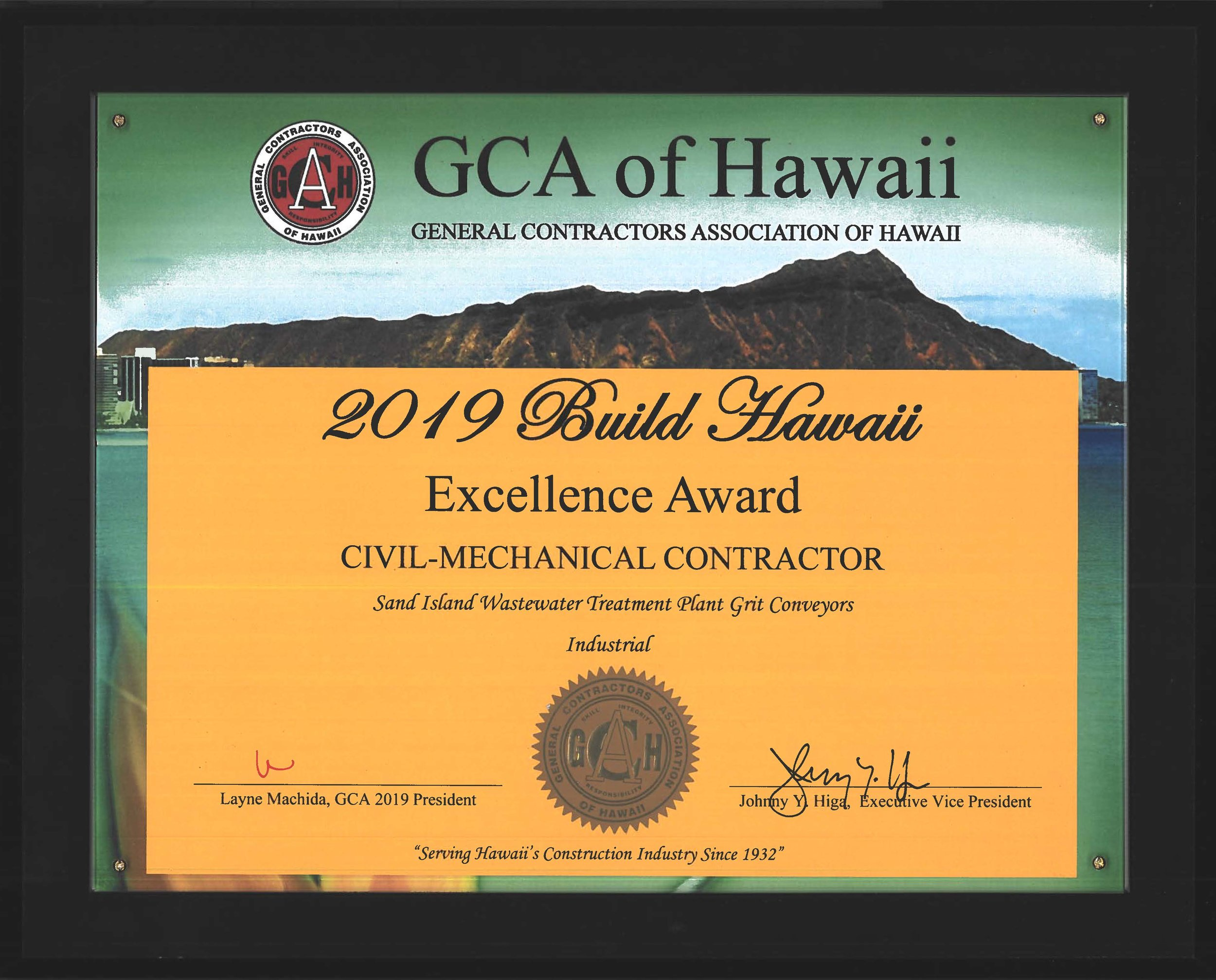 2019 Build Hawaii Excellence Award for Sand Island Wastewater Treatment Plant Grit Conveyors (GCA of Hawaii)