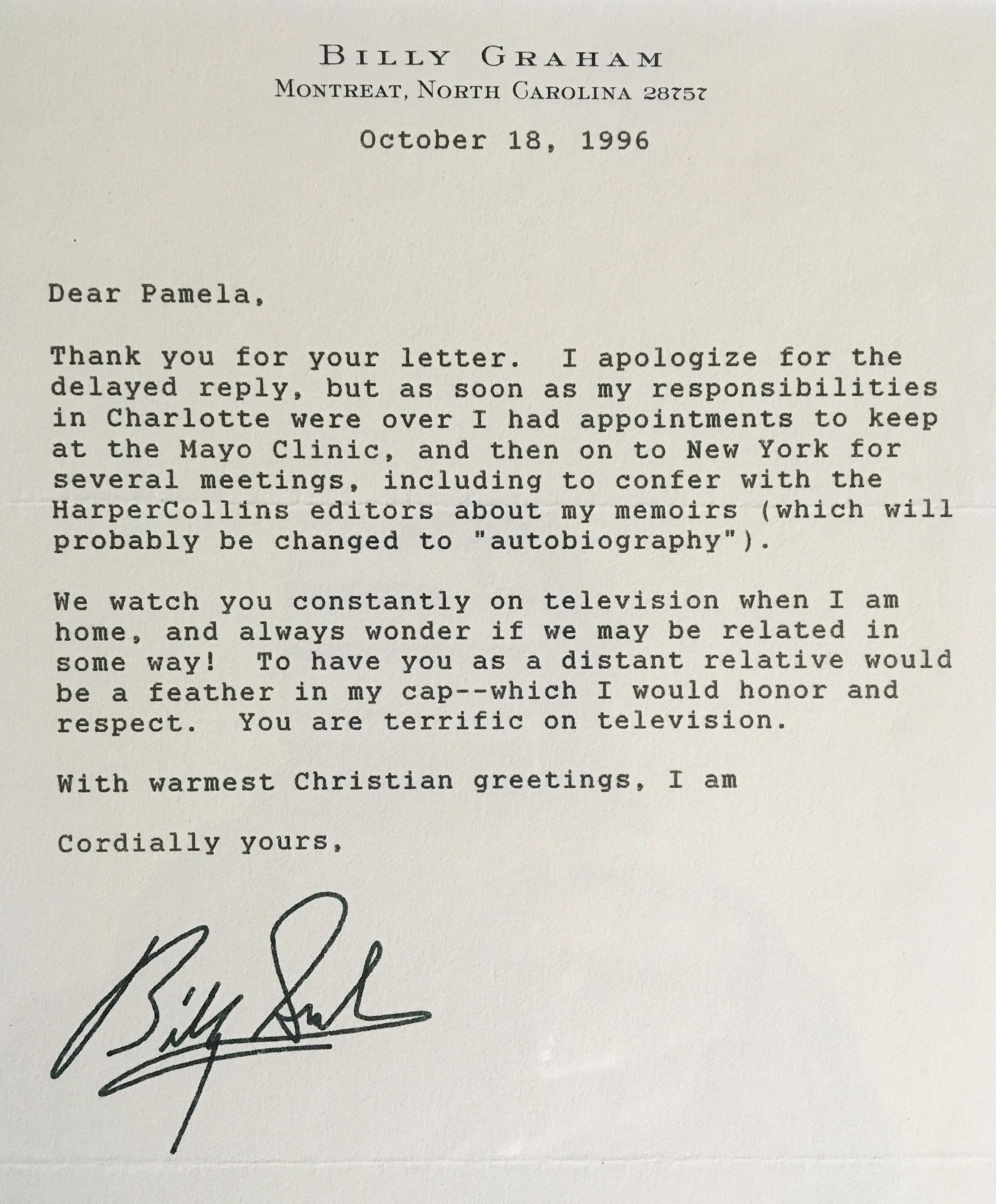 Letter from  Rev. Billy Graham