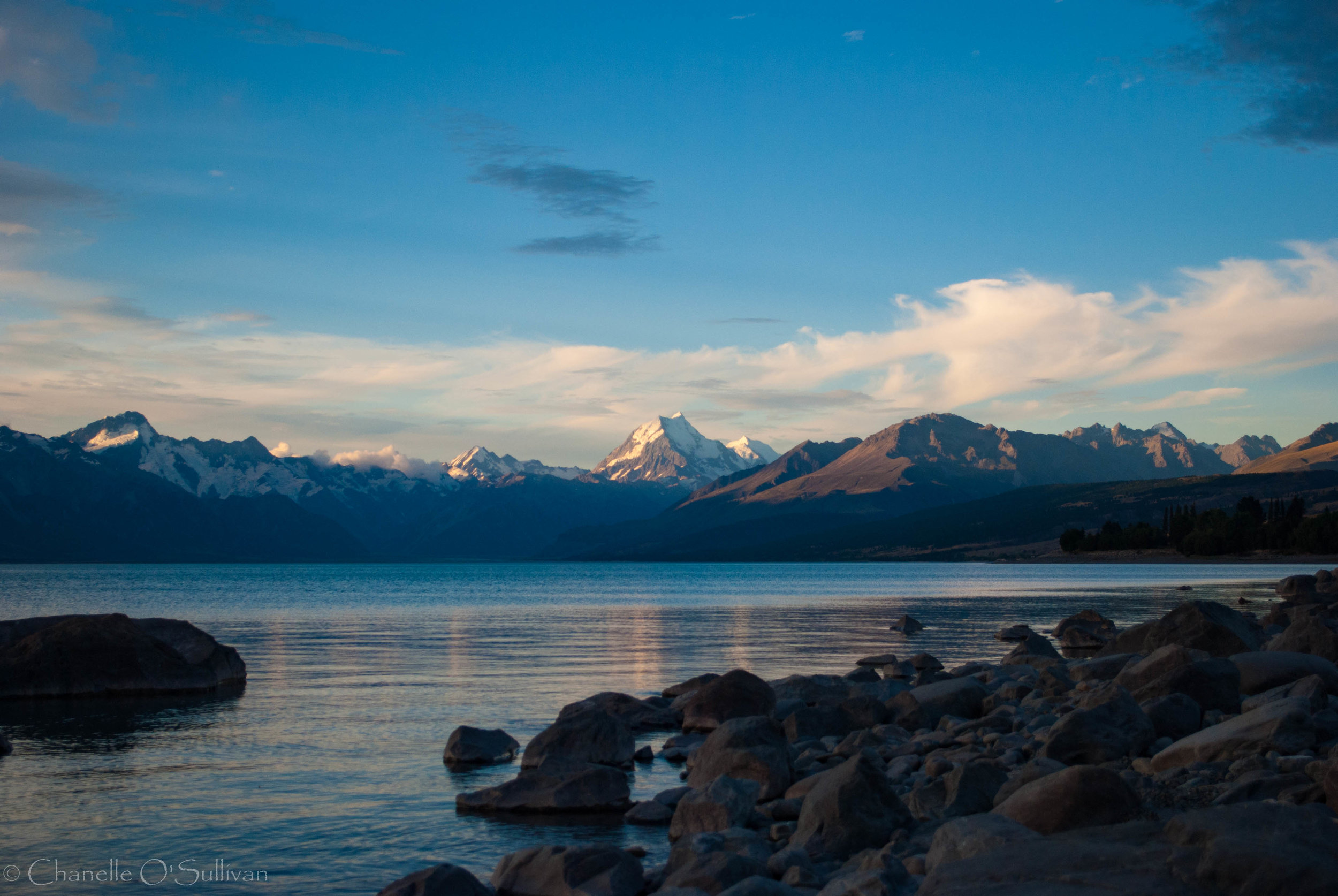 Sunset on the shores of Lake Pukaki mid-summer. This was taken from the Hayman Road side of the Lake.