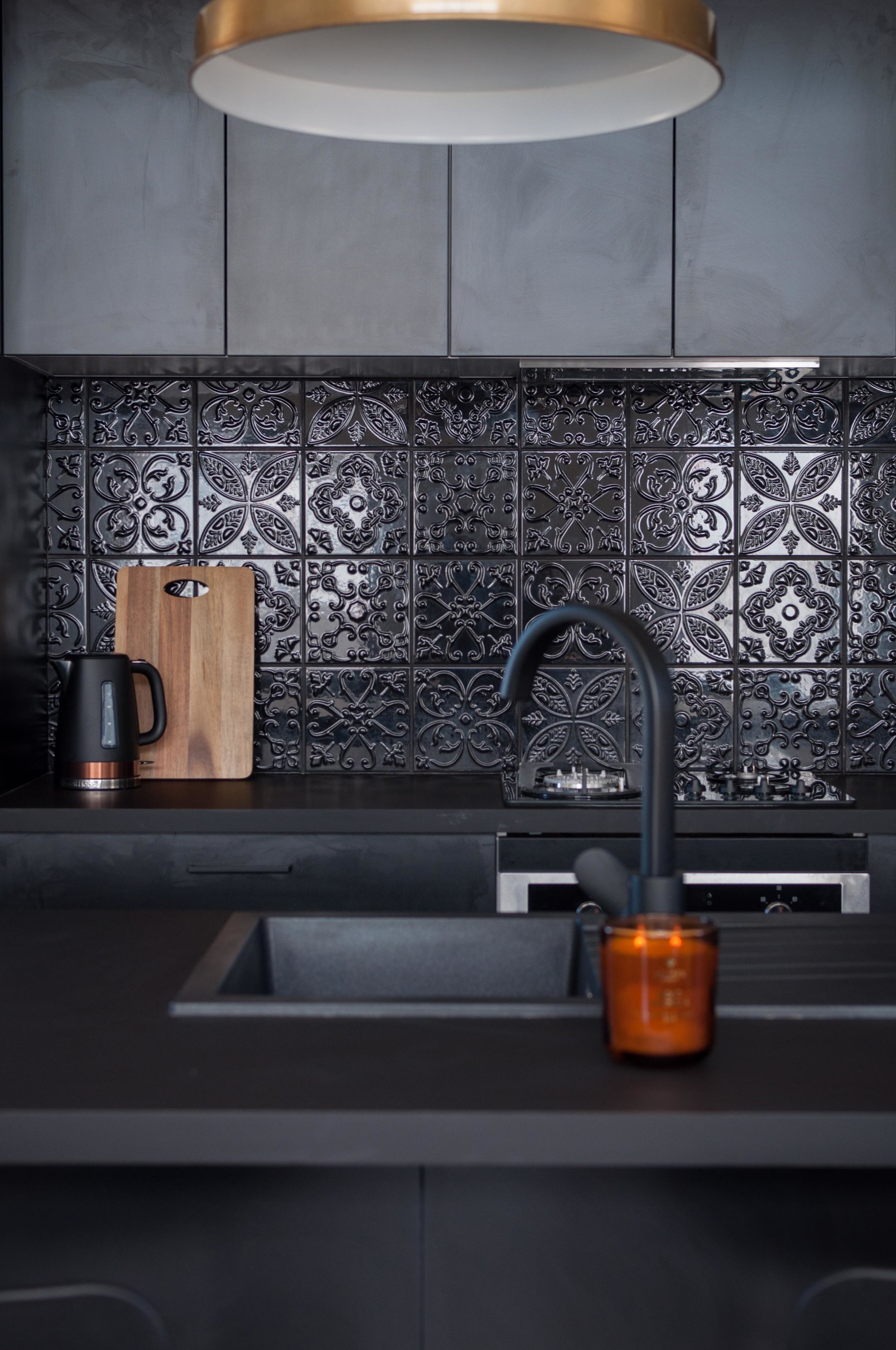 Welcome to the Highland Escape kitchen - black and bold!  Photo by Sarah Drummond Photography