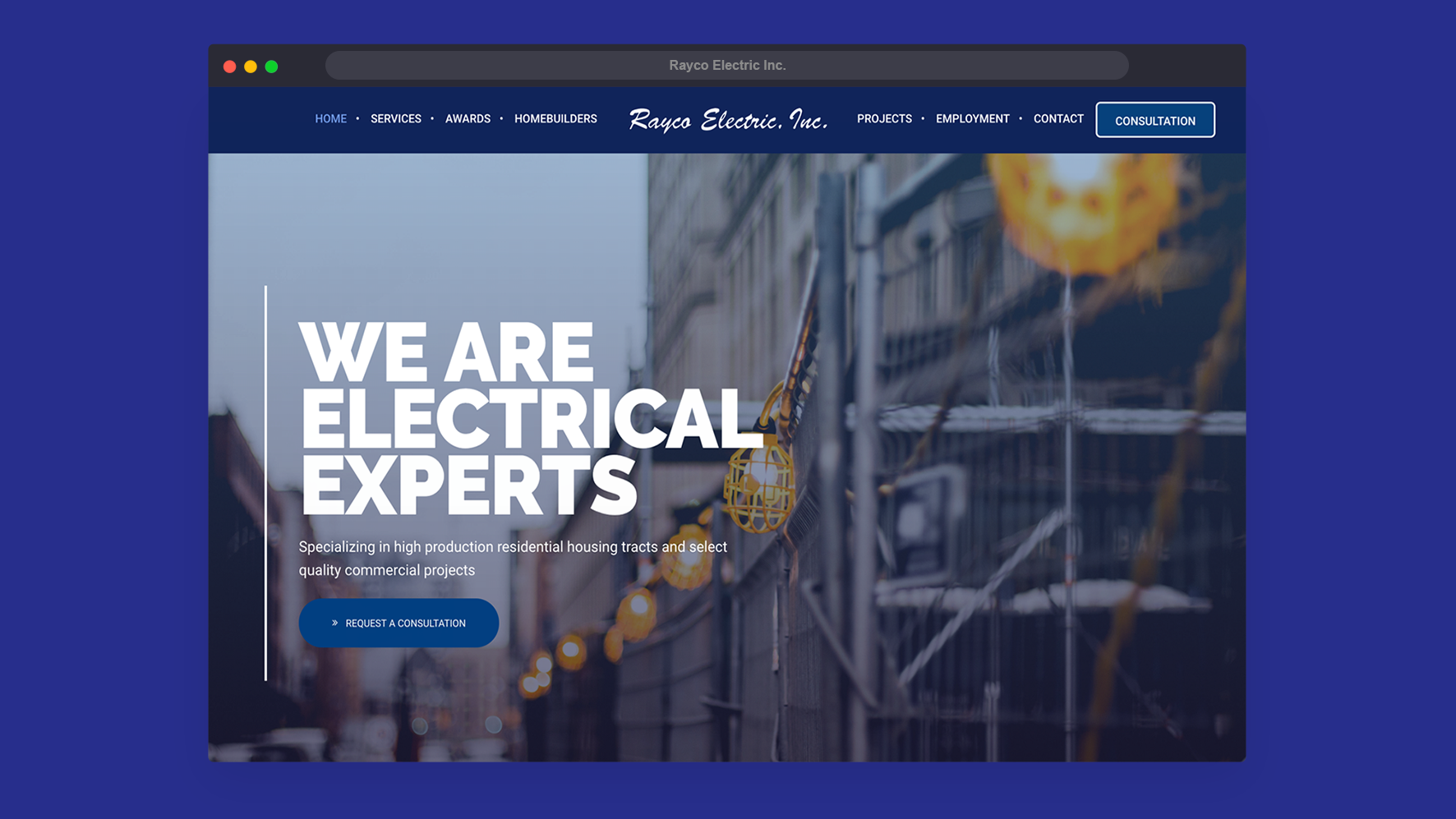 Rayco Electric - Web design - Information Design