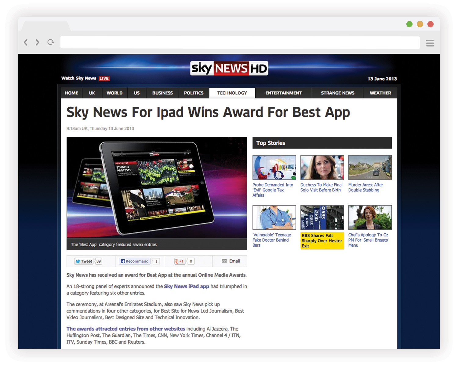 Sky News for iPad won a number of awards throughout the industry
