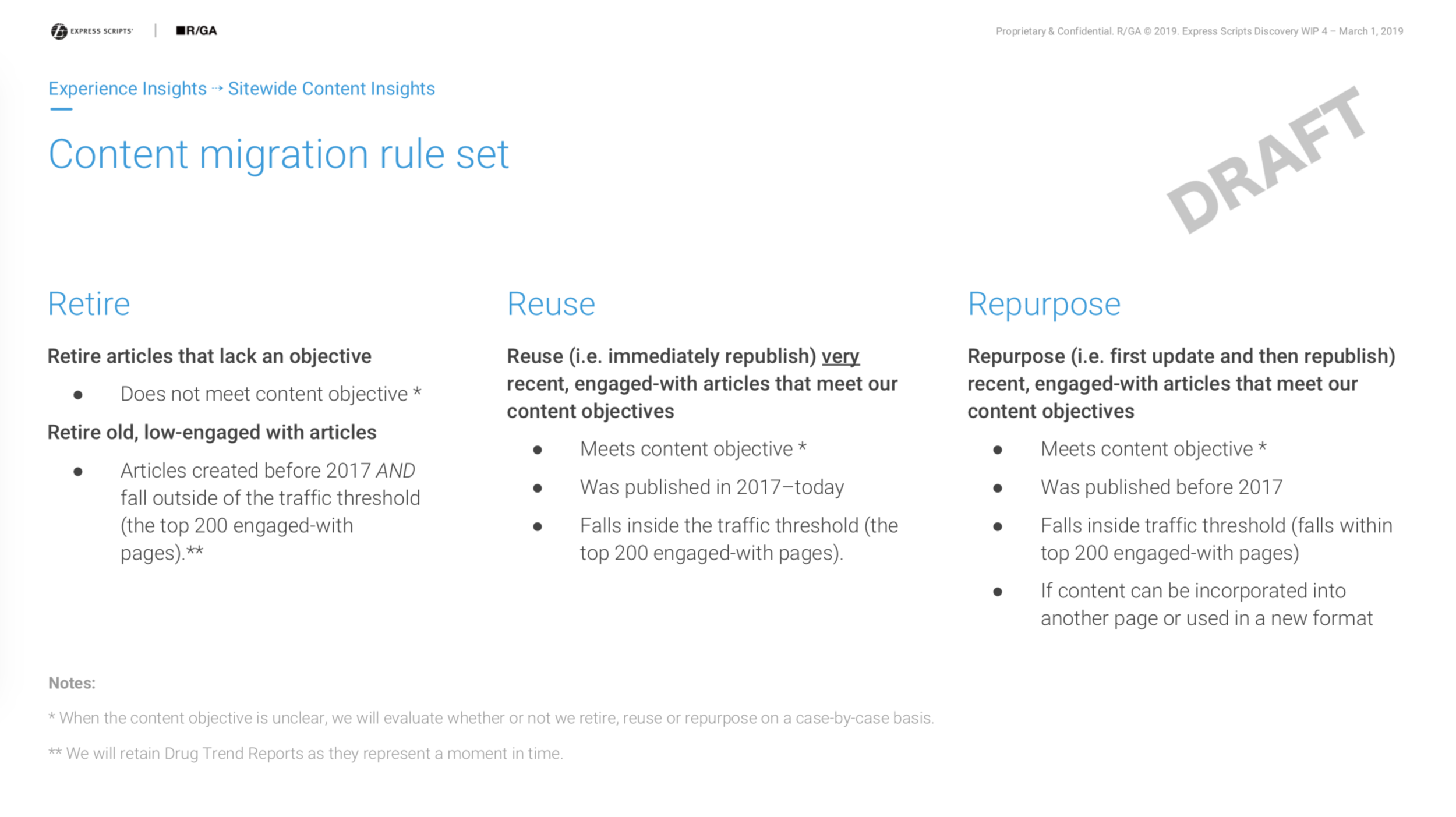 Migration plan for existing content