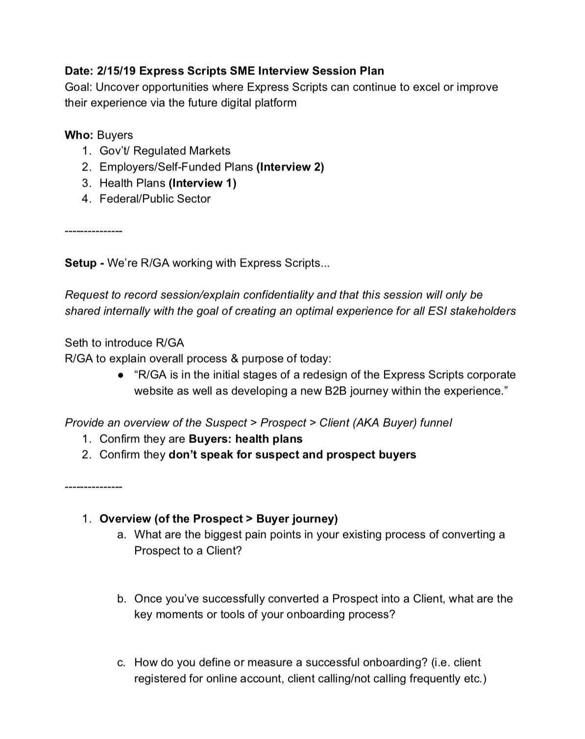 Stakeholder interviews: interview script