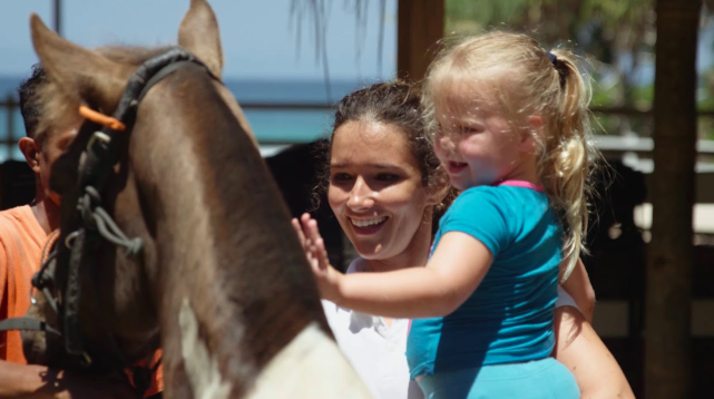 Lots to do for the kids, including a visit to the horse stables