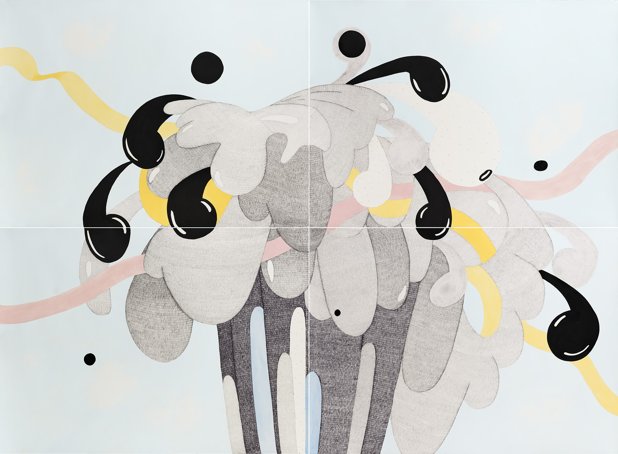 The Bubbler – Jackpot    2018  Pen, watercolour, white gouache, graphite, liquid graphite, Indian ink and acrylic on Hahnemühle paper  158 x 216 cm