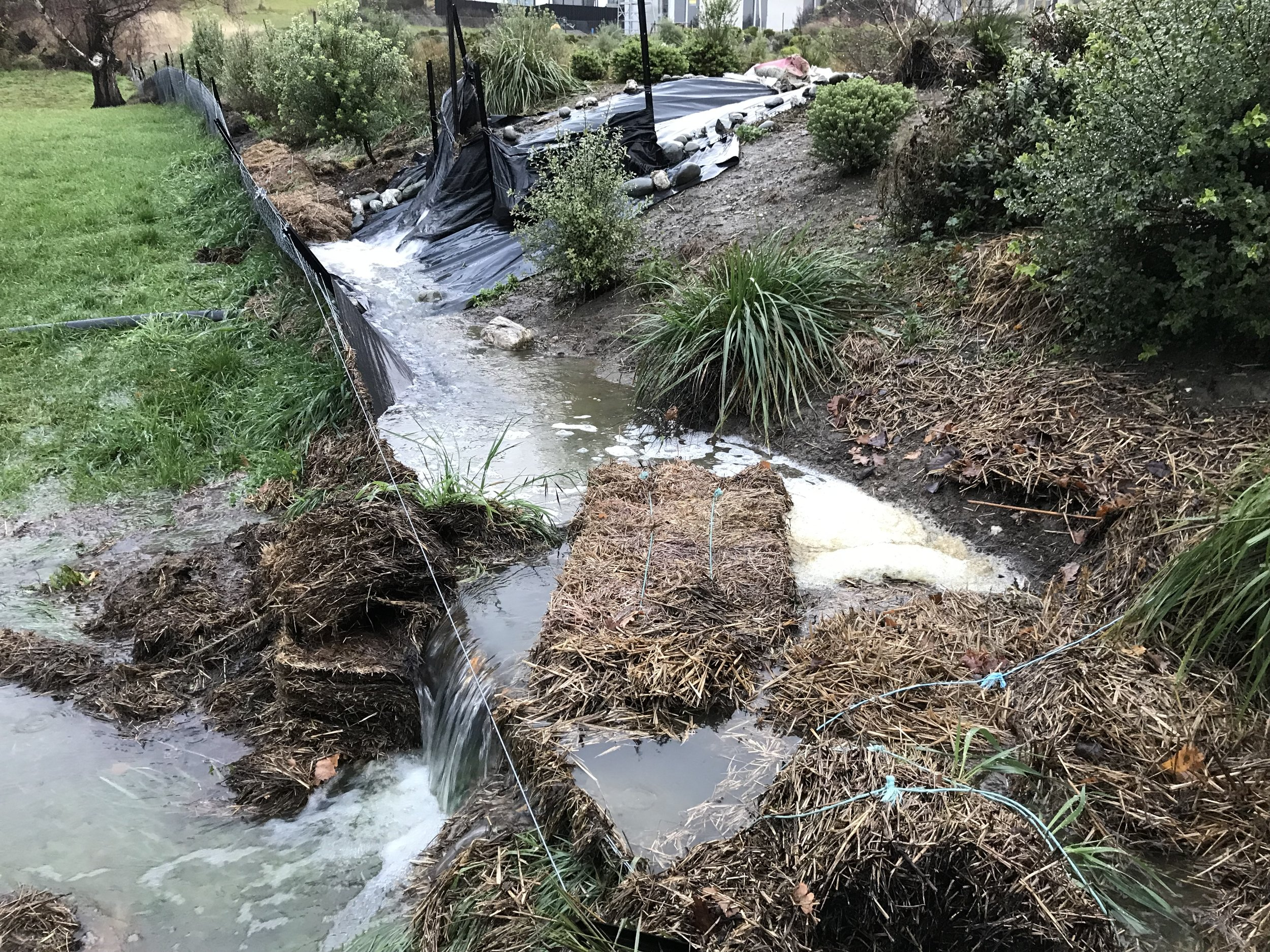 Water overflowing plastic sheet and haybales 30-5-19.JPG