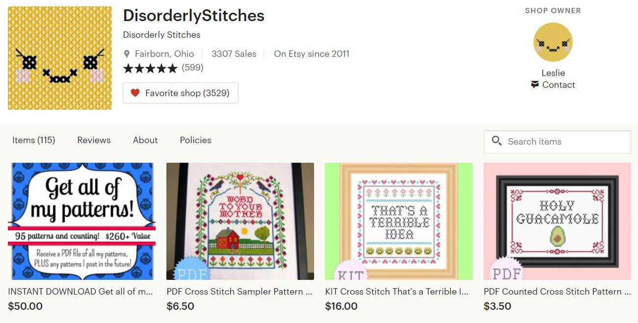 Disorderly Stitches on Etsy
