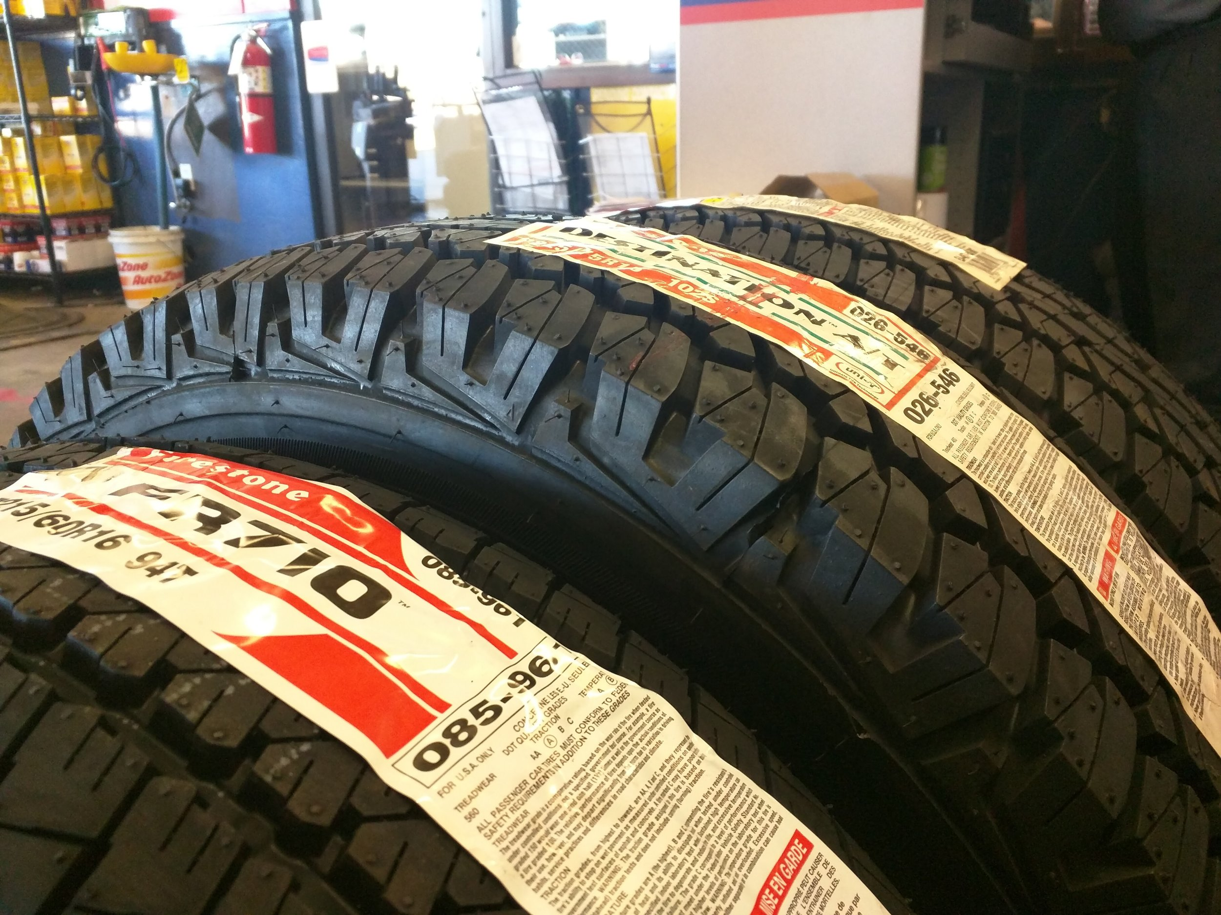 Stock size tire up front 215/60r16 , 225/75 in the middle and 235/70 on the far side