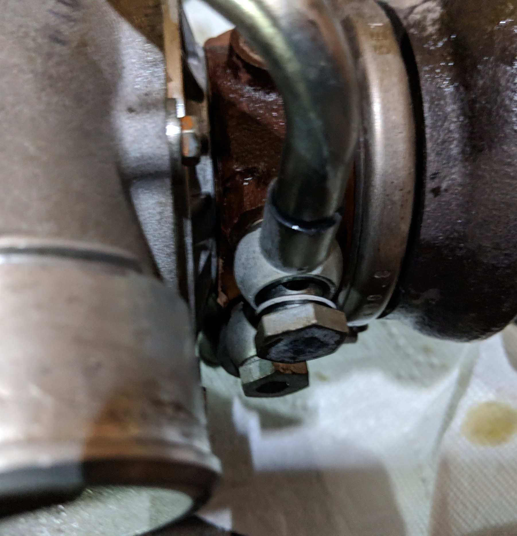 Two coolant banjo bolts to remove.
