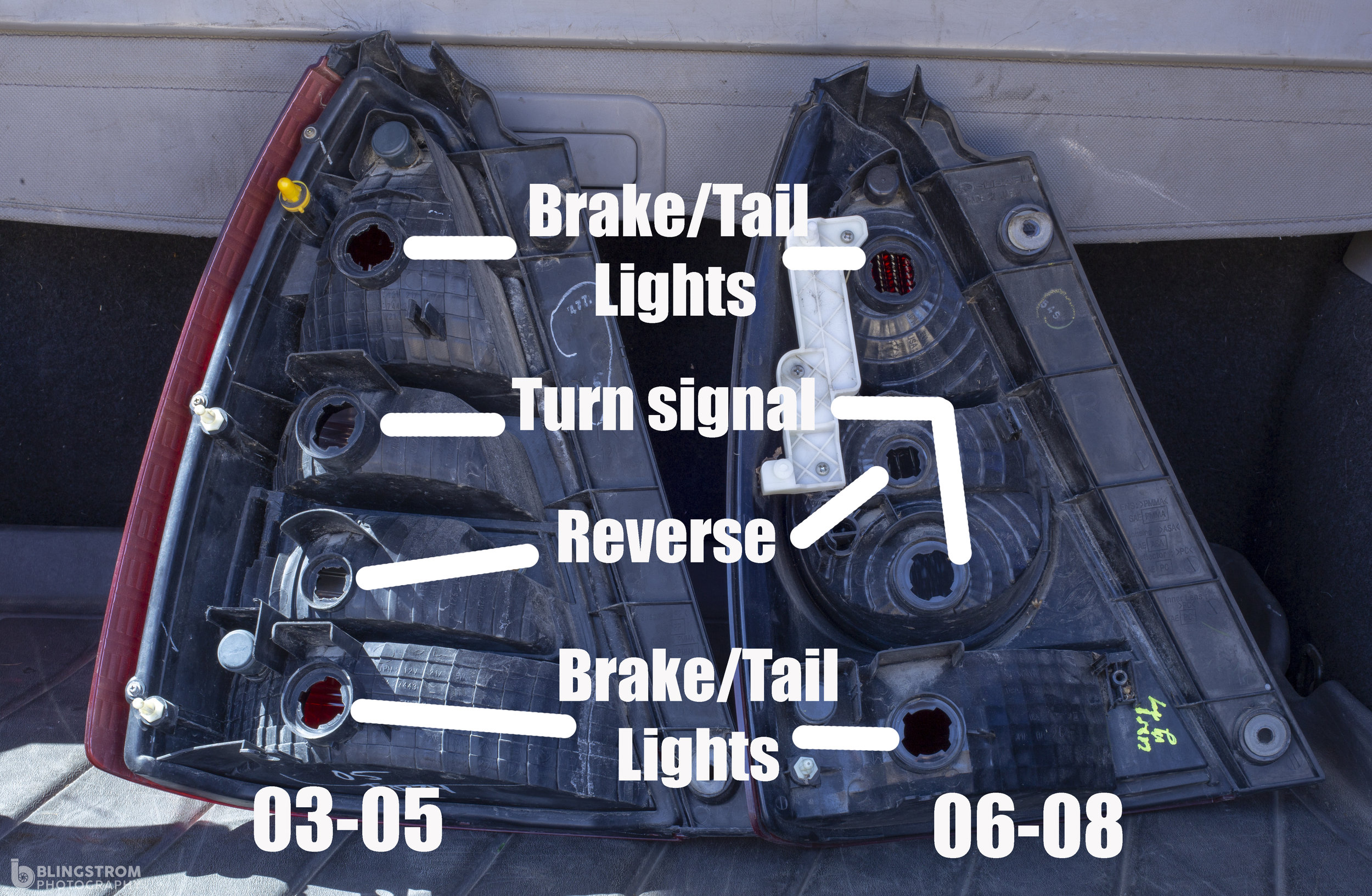 The reverse light and turn signal swap places in between the two tail lights.
