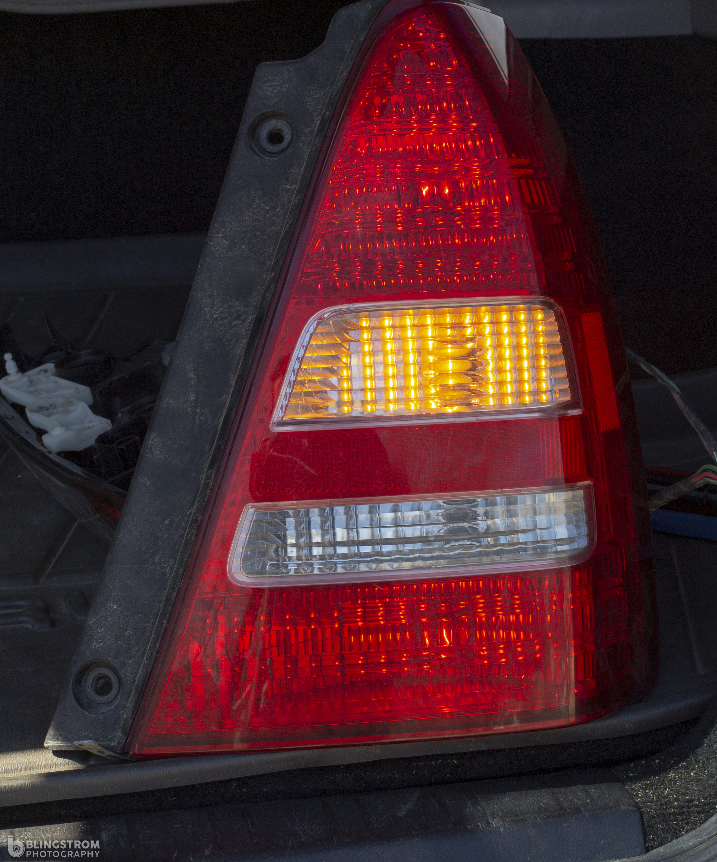 Taillights on and turn signal on.  Taillights 7443 bulb   Turn signal bulb 7440A