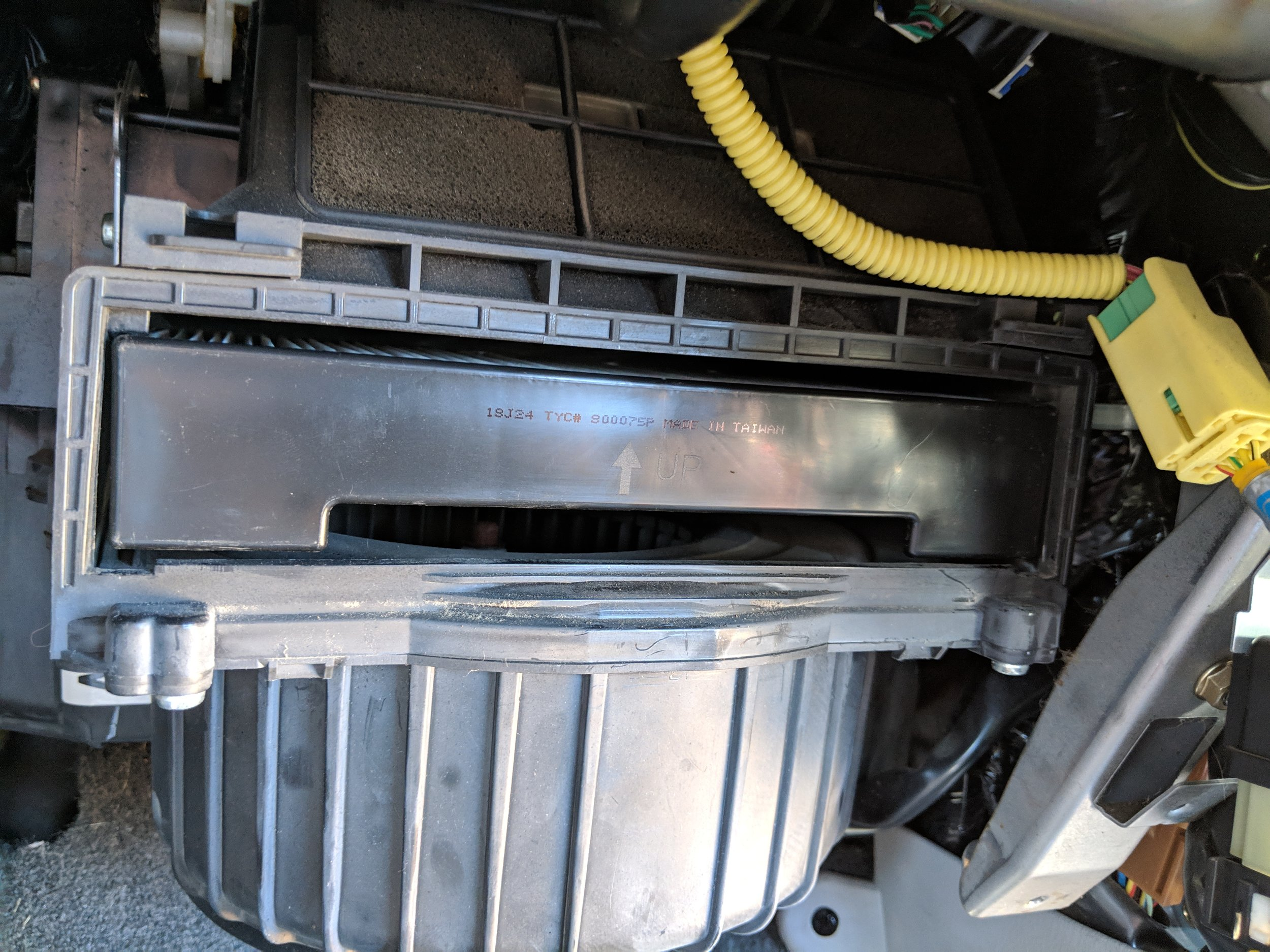 With the cover off, there is the air filter.