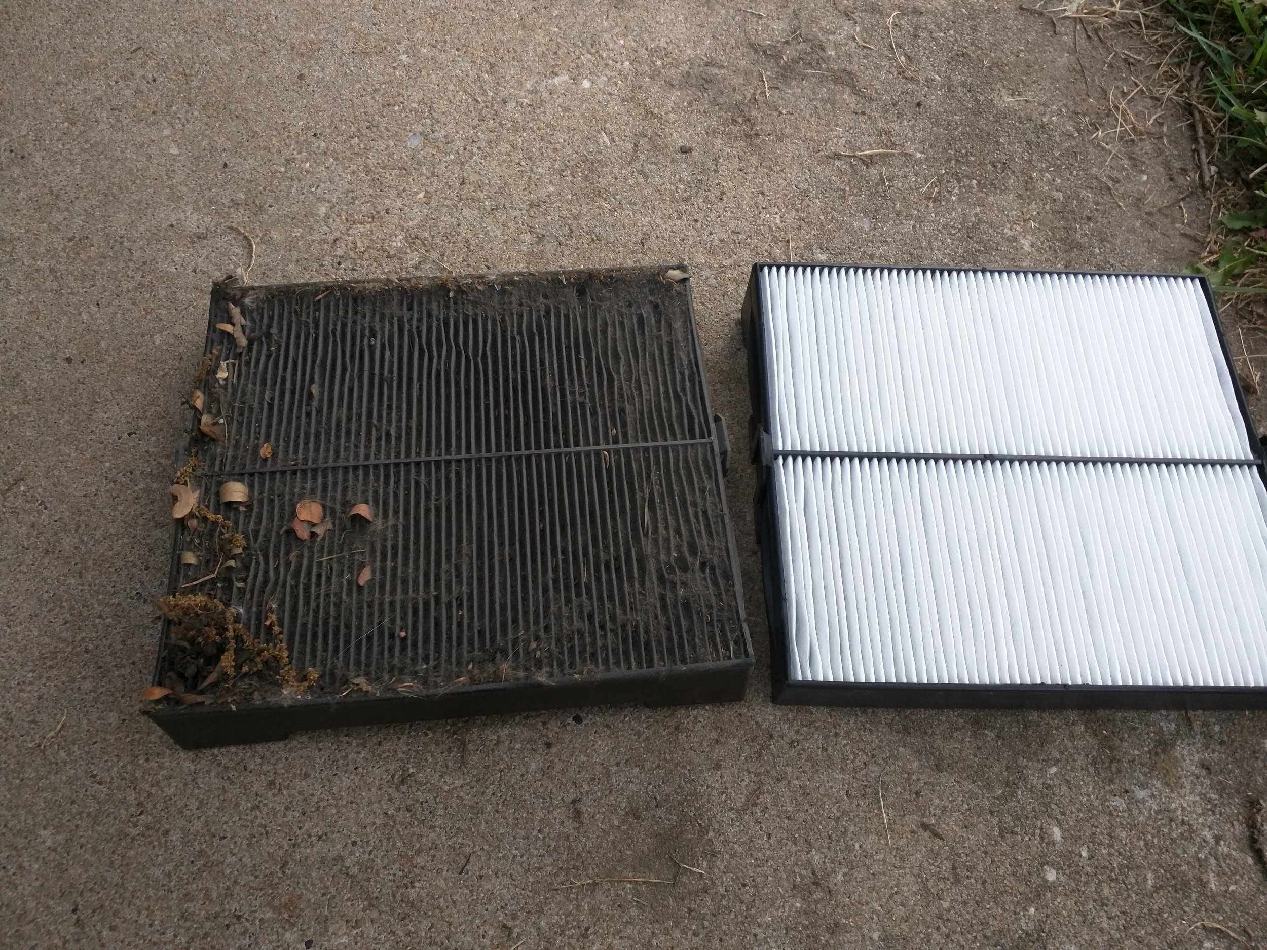 Before and after… So bad.  TYC Forester cabin air filter