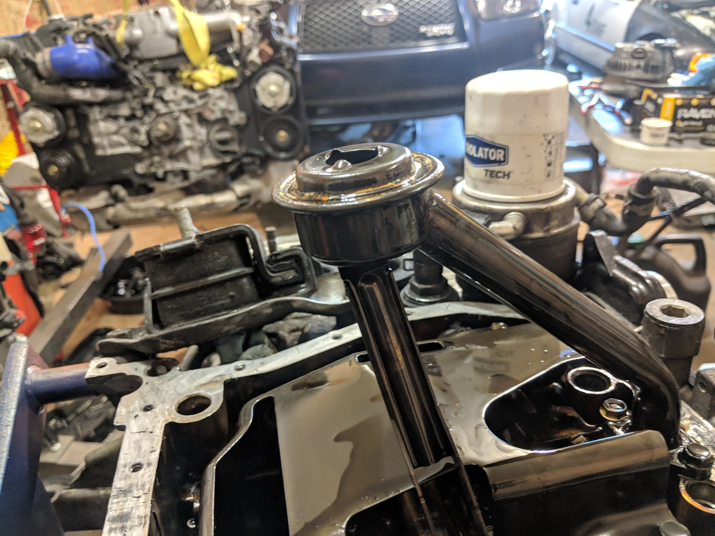 The factory pickup in all its glory. The right side is where the known braze can split and cause a lack of oil pressure.
