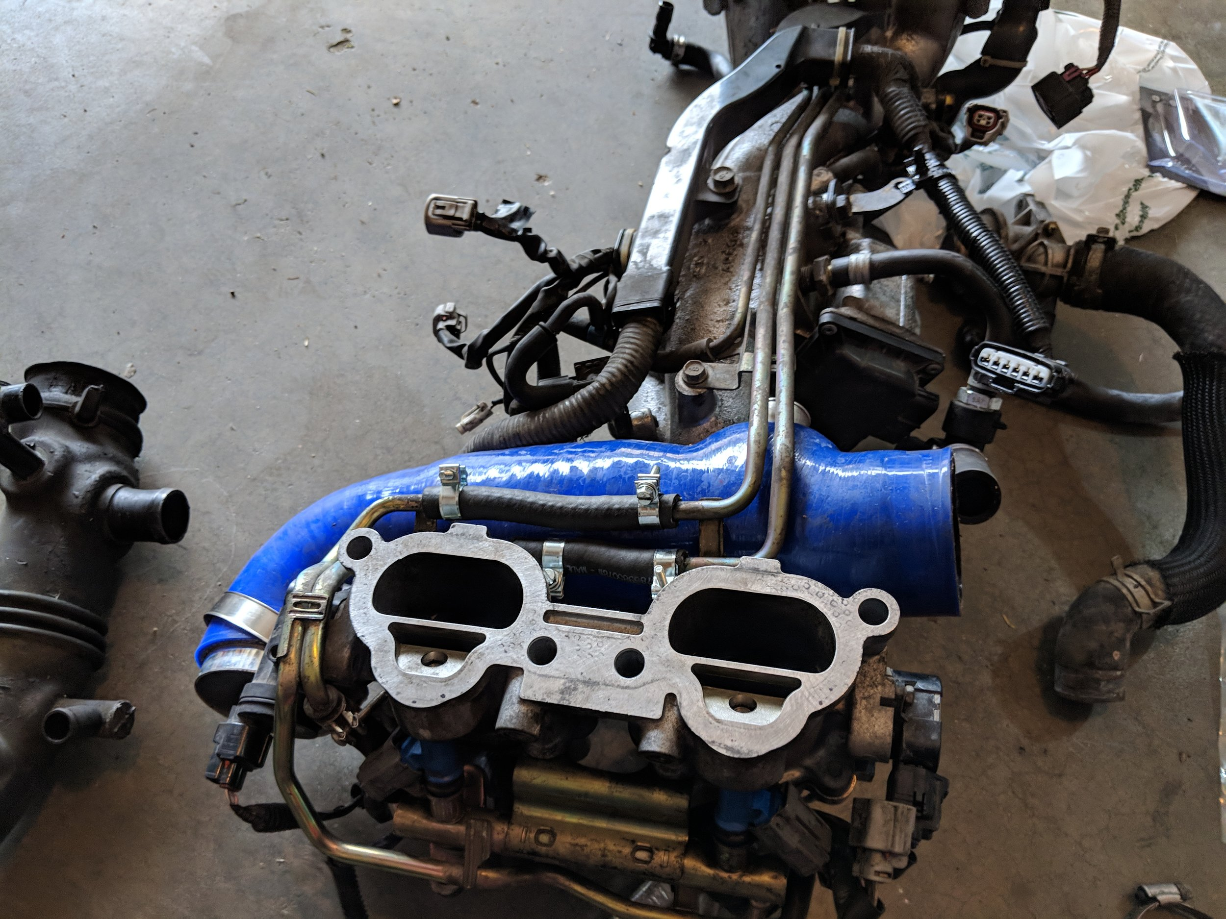 This is most likely what you will be looking at. You can leave the hardlines installed on the manifold and easily repair them. You can also replace your turbo inlet or vice versa.