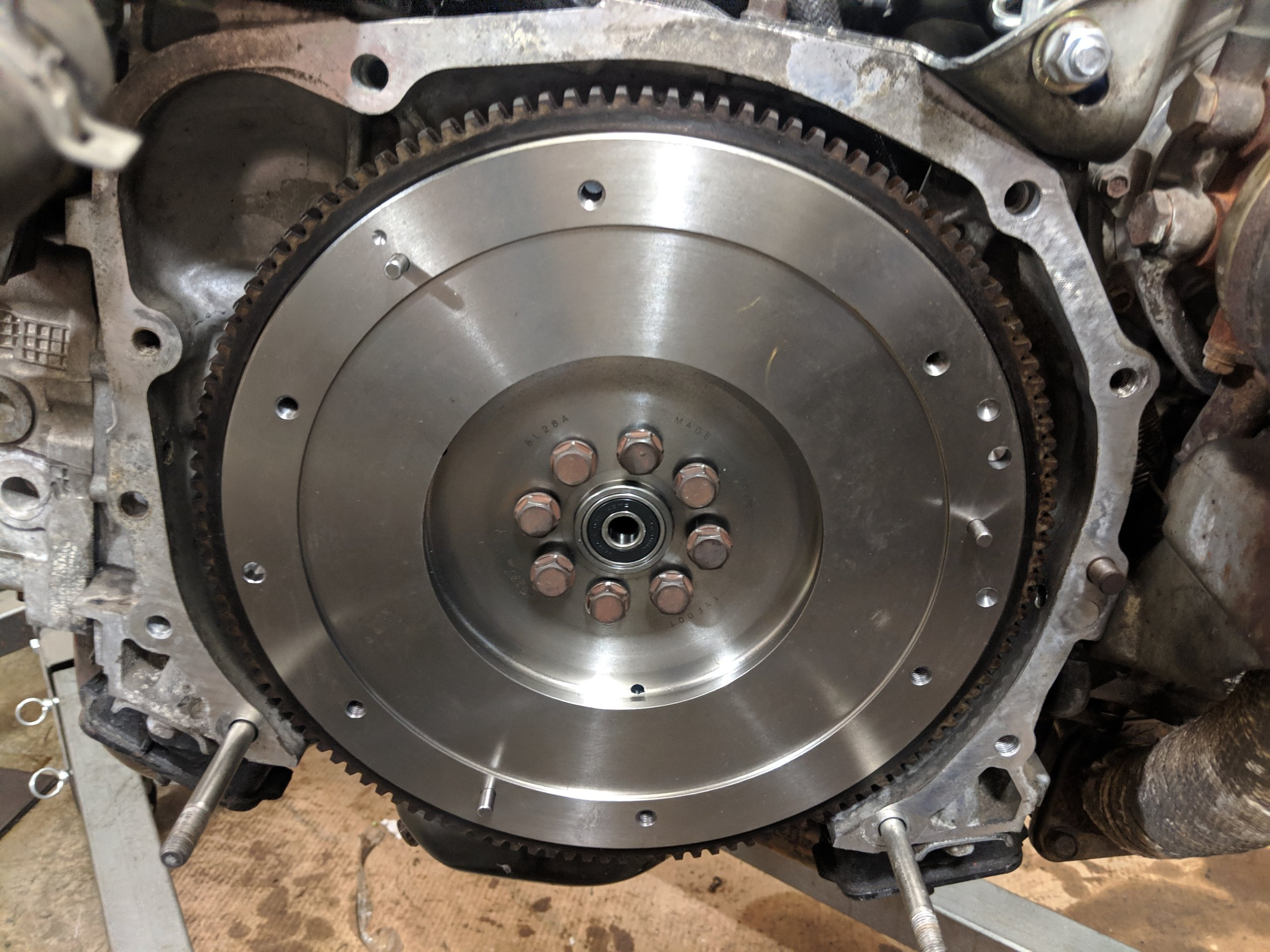 New flywheel ready to bolt up! It is a necessary upgrade for those that want the clutch upgrade.