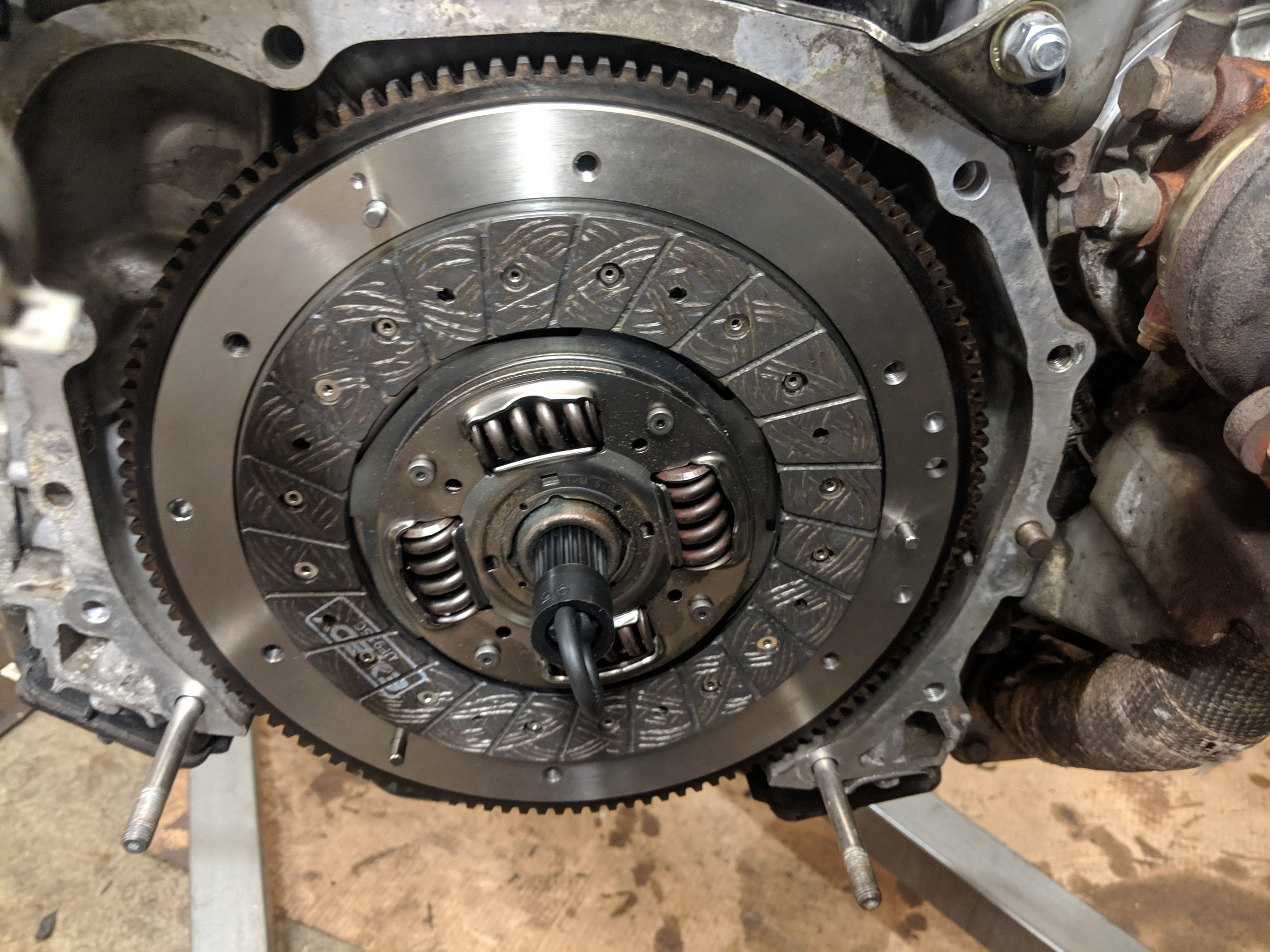 Clutch disc installed and ready for the pressure plate.