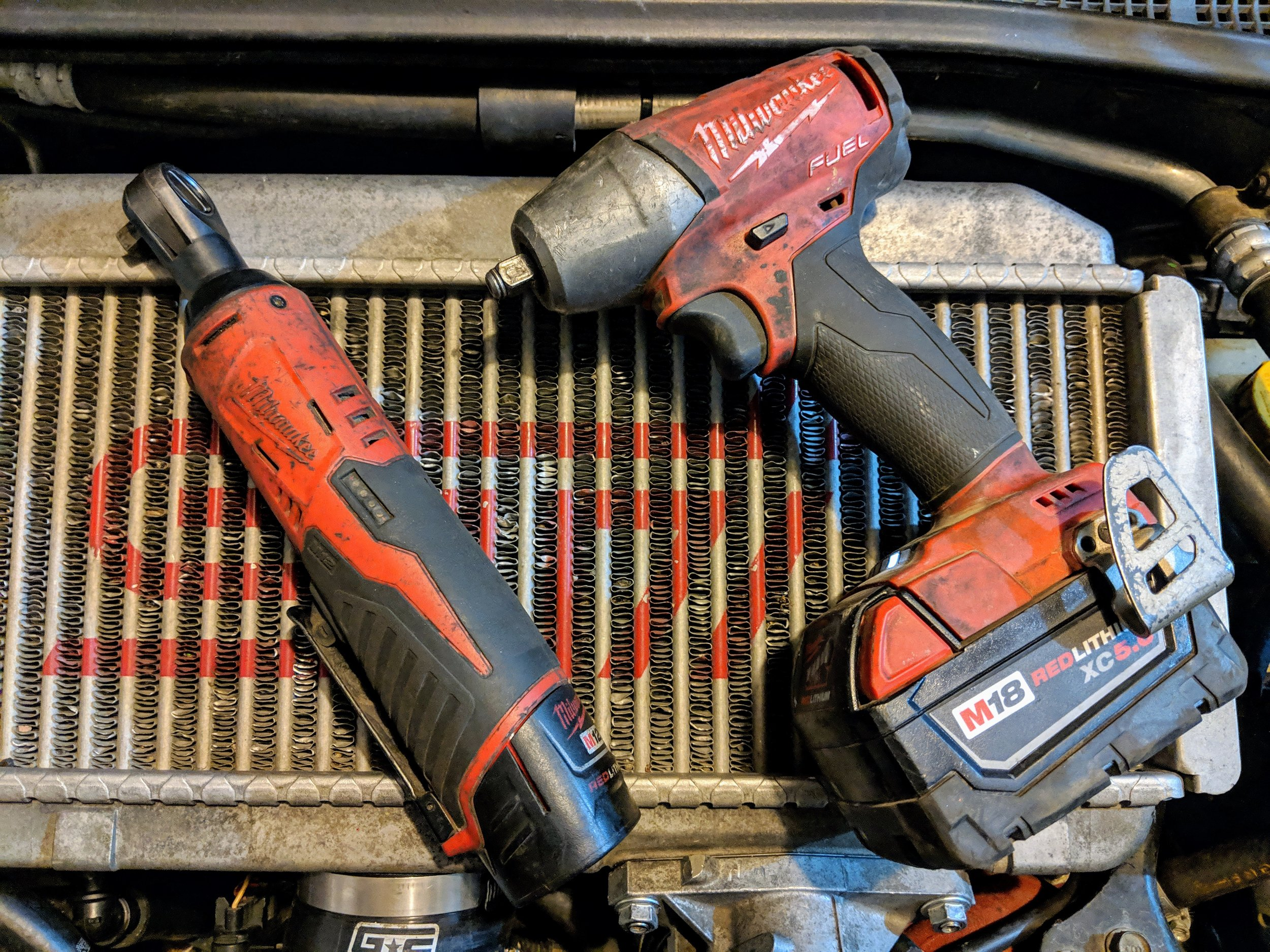 I love these things and you will too! They speed up you job and keep the pain out of your arm and shoulders.   Milwaukee 3/8 electric ratchet    Milwaukee 3/8 electric impact