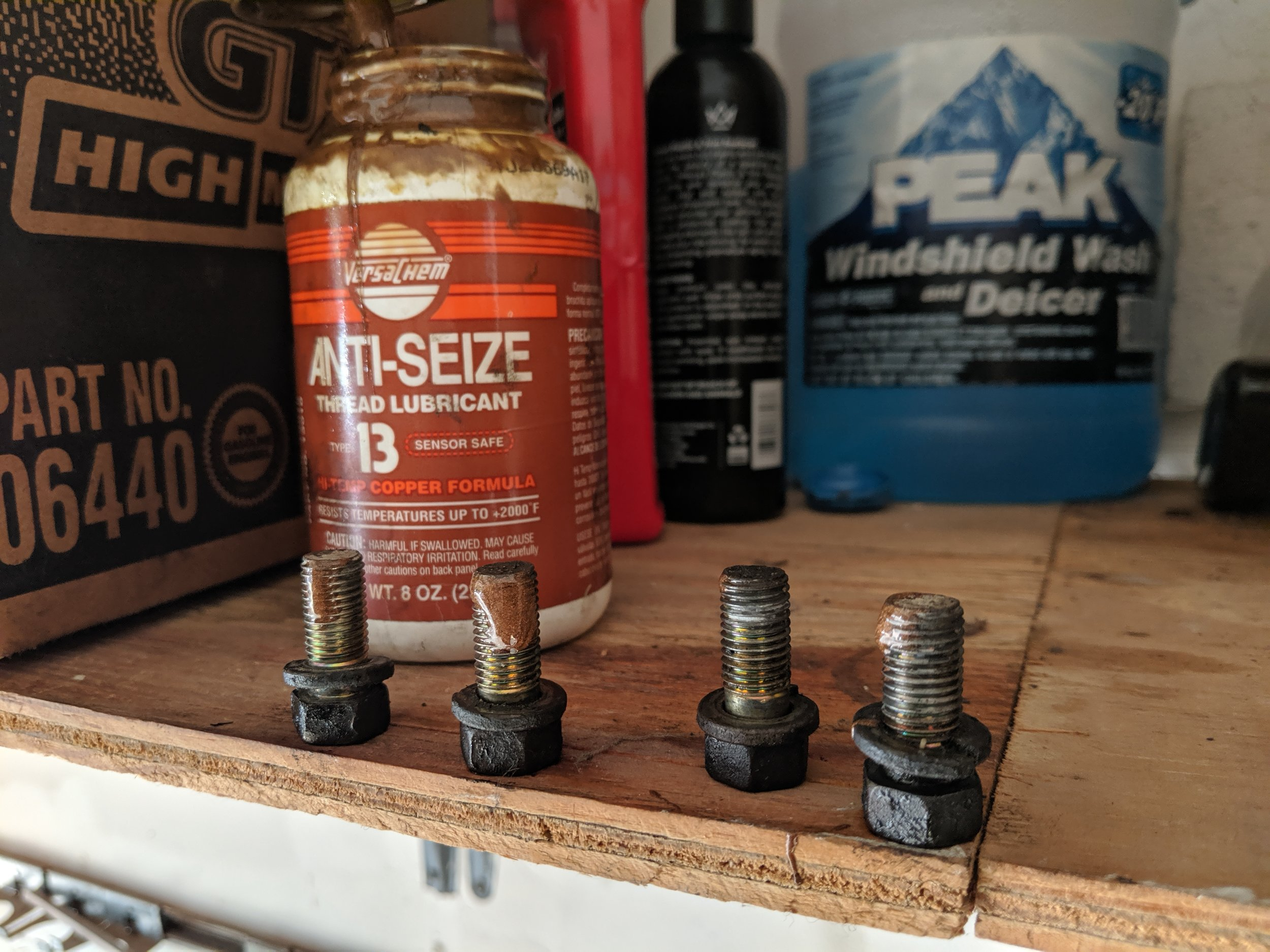 With the bolts removed this is a good time to  Anti-seize  them up! Hopefully you never have to remove this guy again but better safe than sorry. With steel bolts in an aluminum transmission I will take heed and use the copper anti-seize..