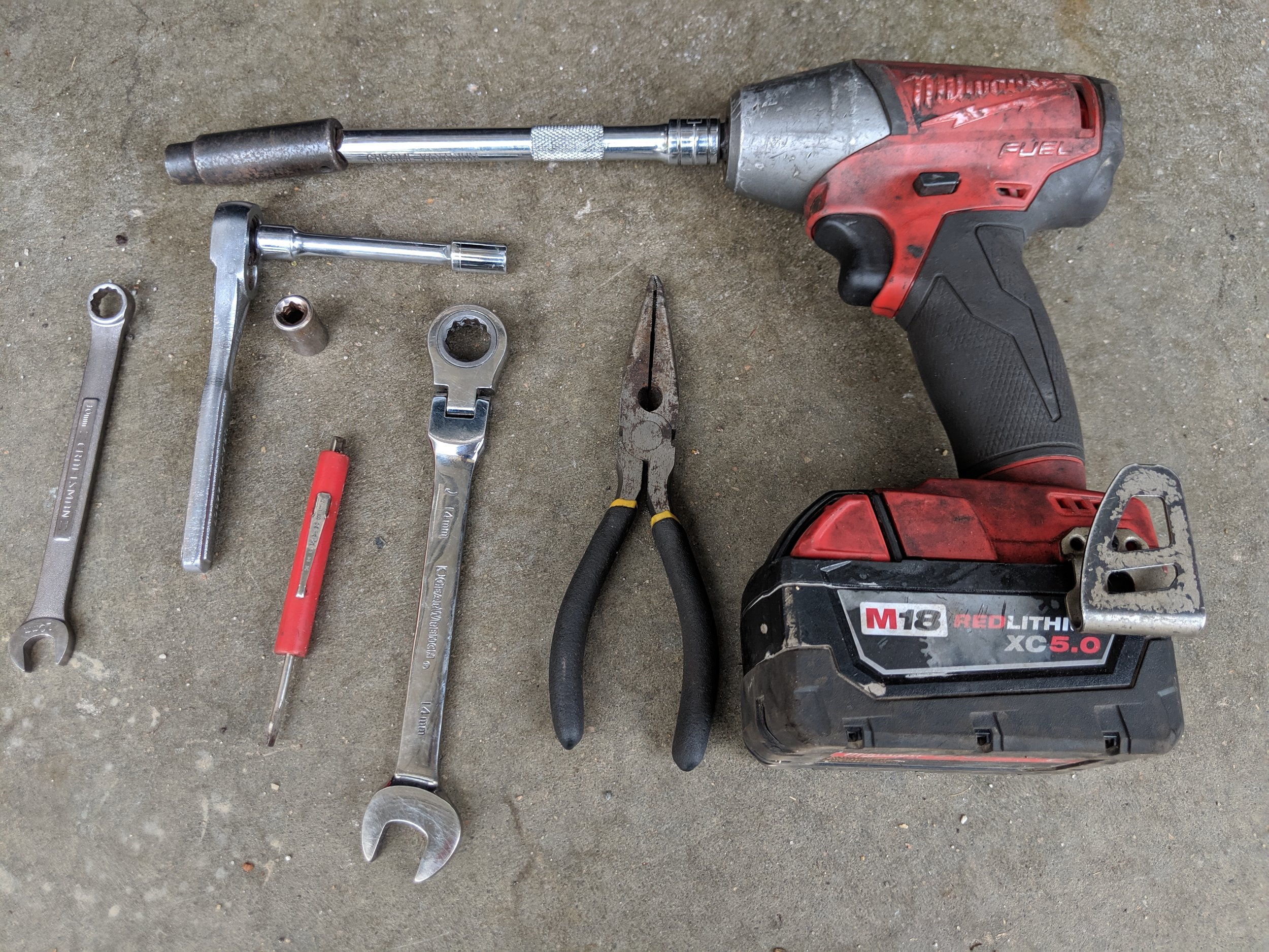 What tools do you need! These are the assorted tools that help me complete the job! An 8mm and 10mm 1/4 socket, with an extension and ratchet. A 10mm and 14mm wrench. A 10mm 3/8th socket and ratchet or impact in my case. A pair of pliers and pocket screwdriver can be helpful.  Links!  3/8th ratchet   Milwaukee 3/8 electric ratchet   Grey pneumatic socket set    Milwaukee 3/8 electric impact   ATE long nose plier set   Craftsman 1/4 socket set and ratchet    Gearwrench 14mm ratcheting wrench